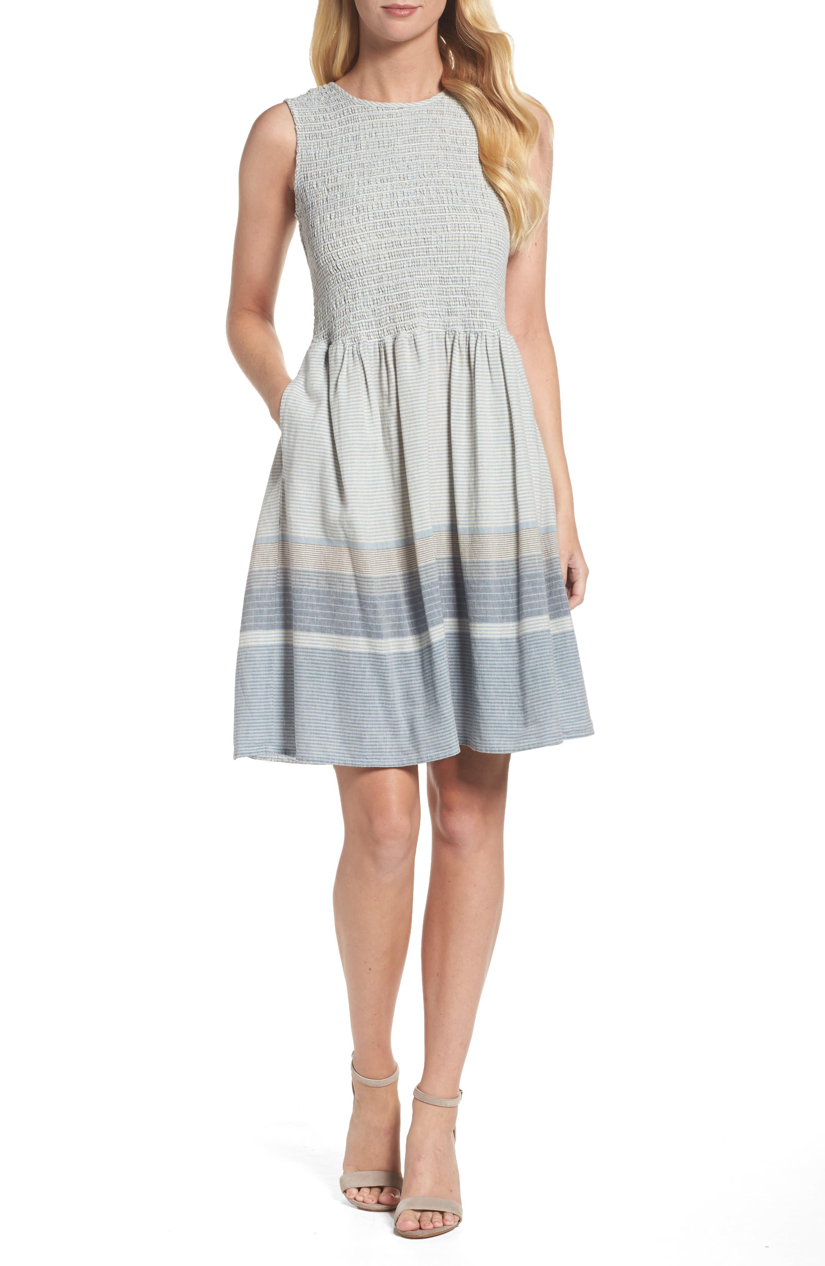 Serge Stripe Fit & Flare Dress,                             Main thumbnail 1, color,                             Indigo Wash