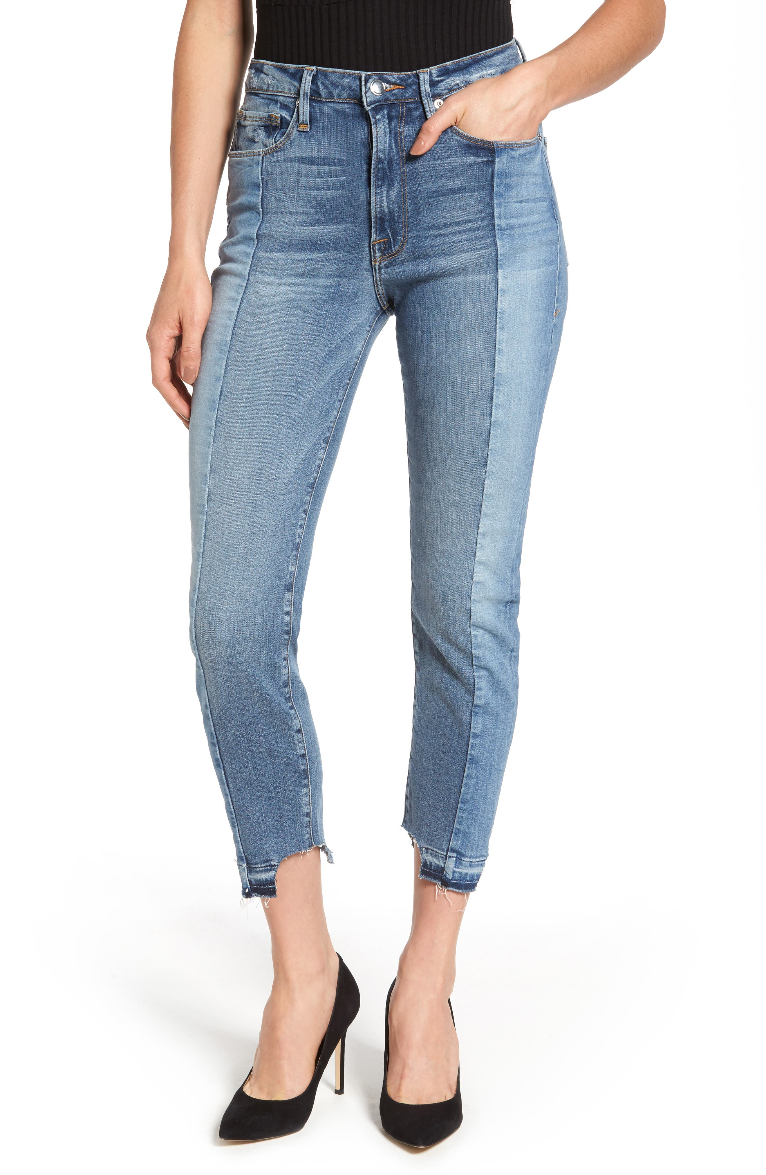 Alternate Image 1 Selected - Good American Raw Hem High Waist Skinny Jeans (Blue 078) (Regular & Plus Size)