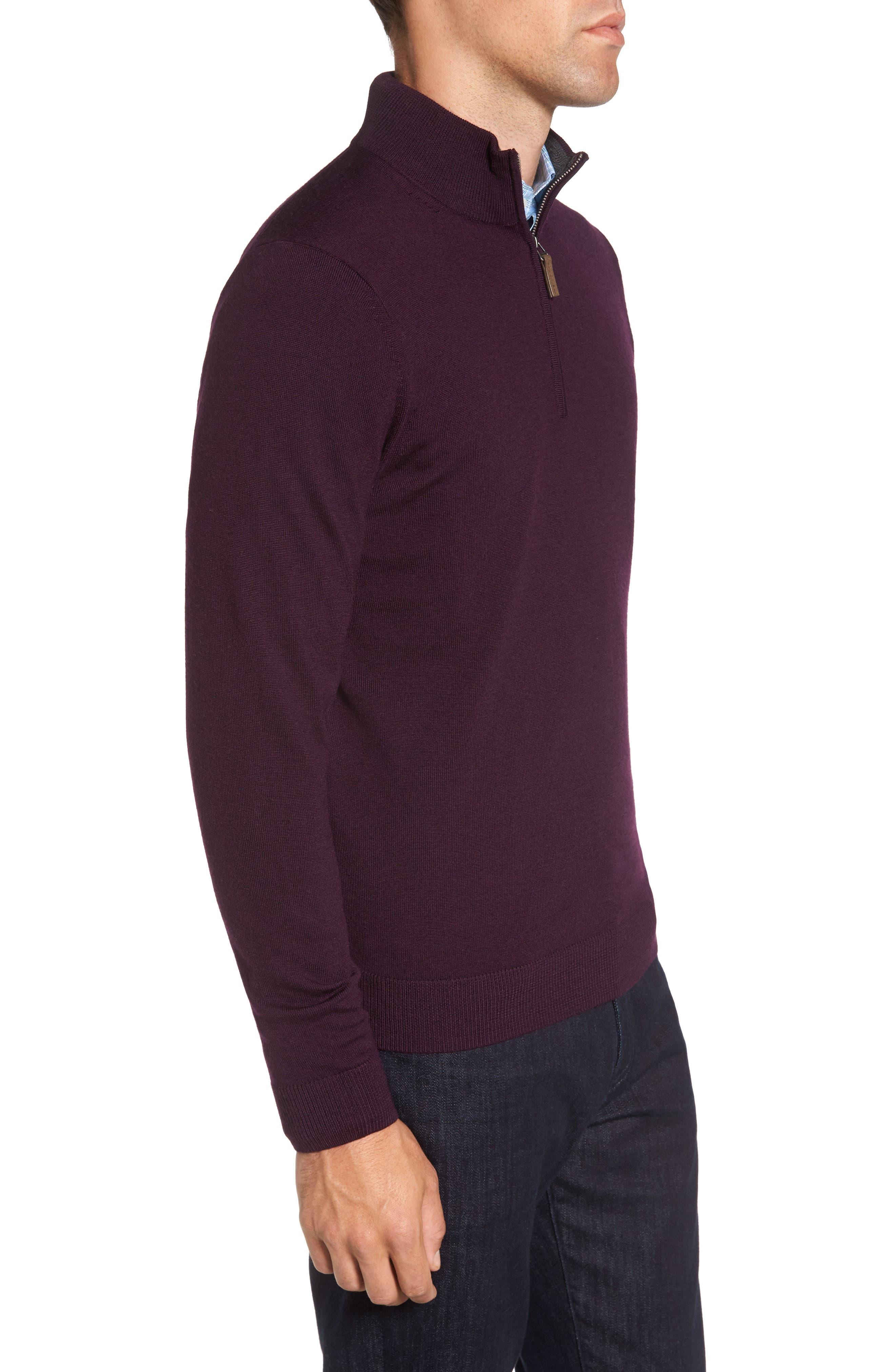 Quarter Zip Wool Pullover,                             Alternate thumbnail 3, color,                             Purple Plum