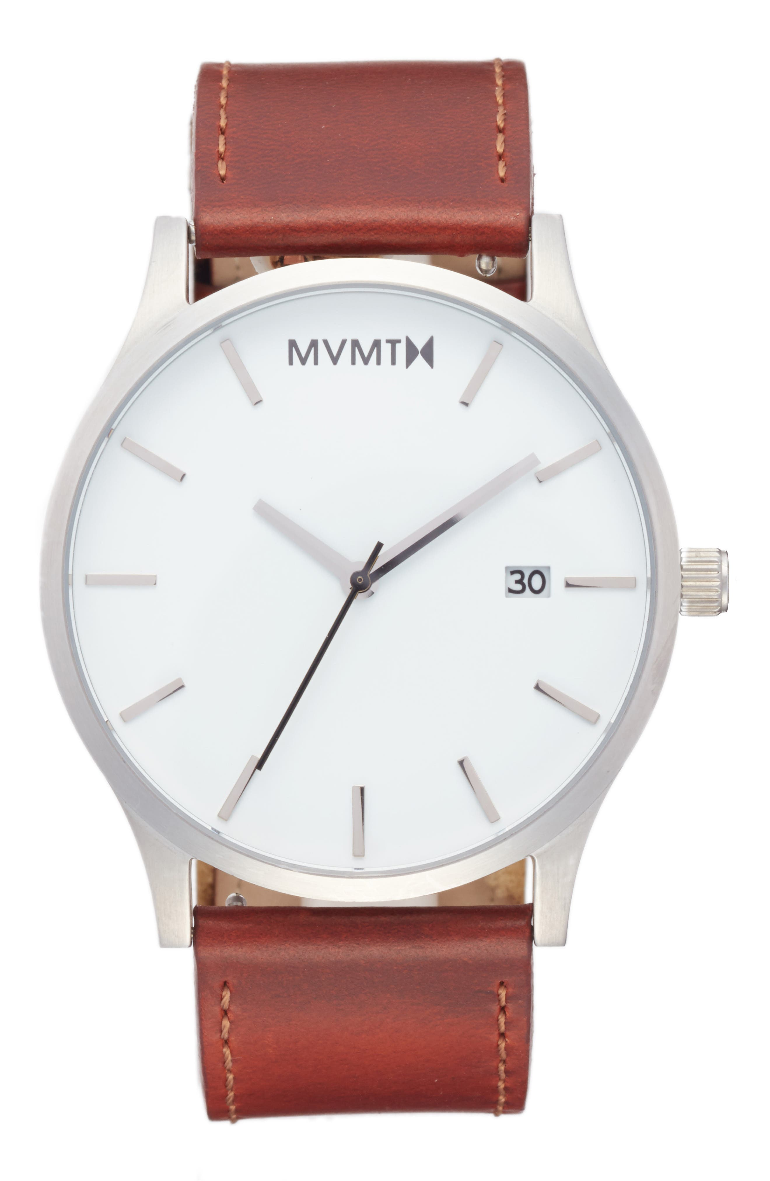 The Classic Leather Strap Watch, 45mm,                         Main,                         color, White/ Brown