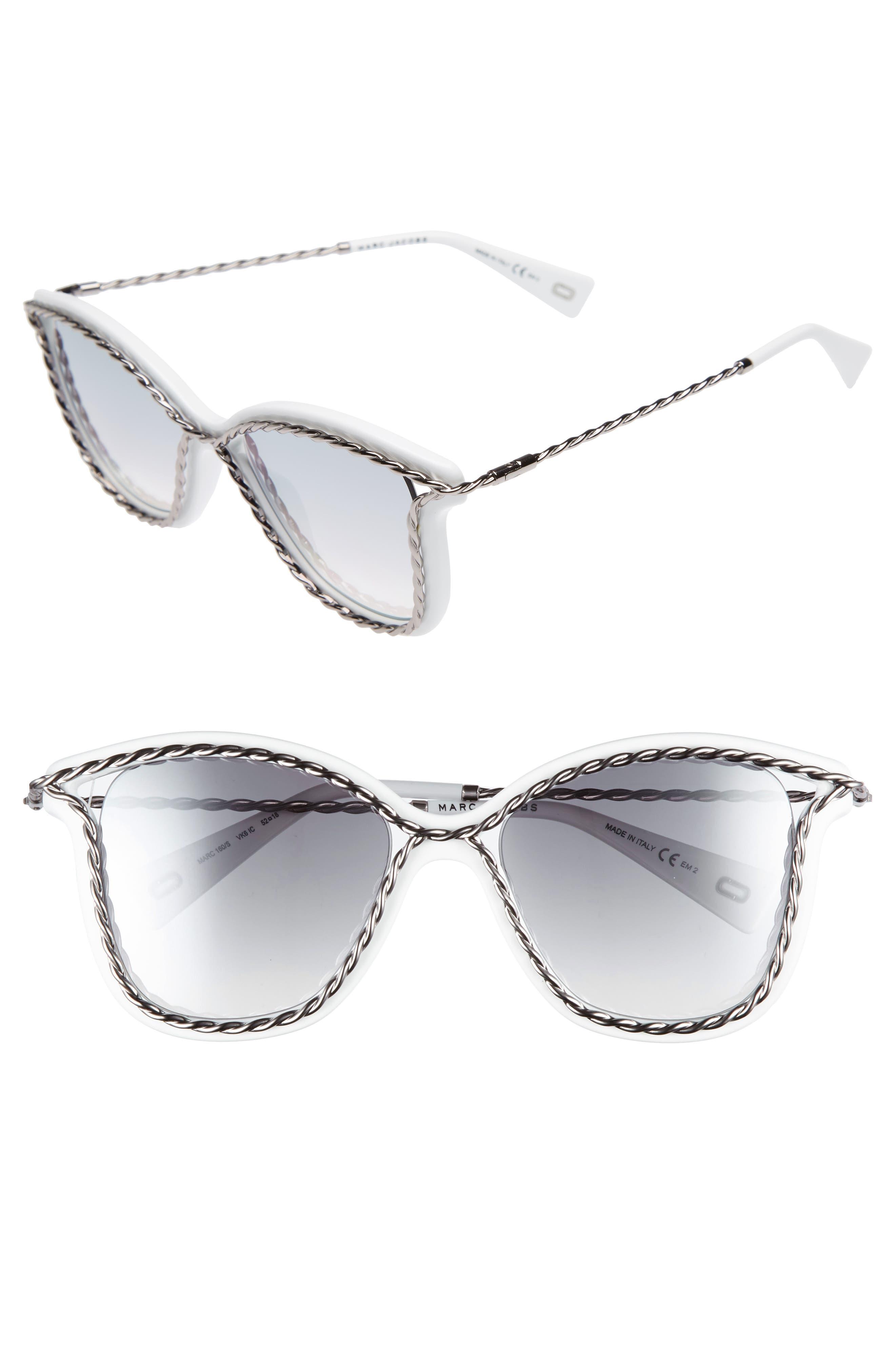 52mm Cat Eye Sunglasses,                         Main,                         color, White