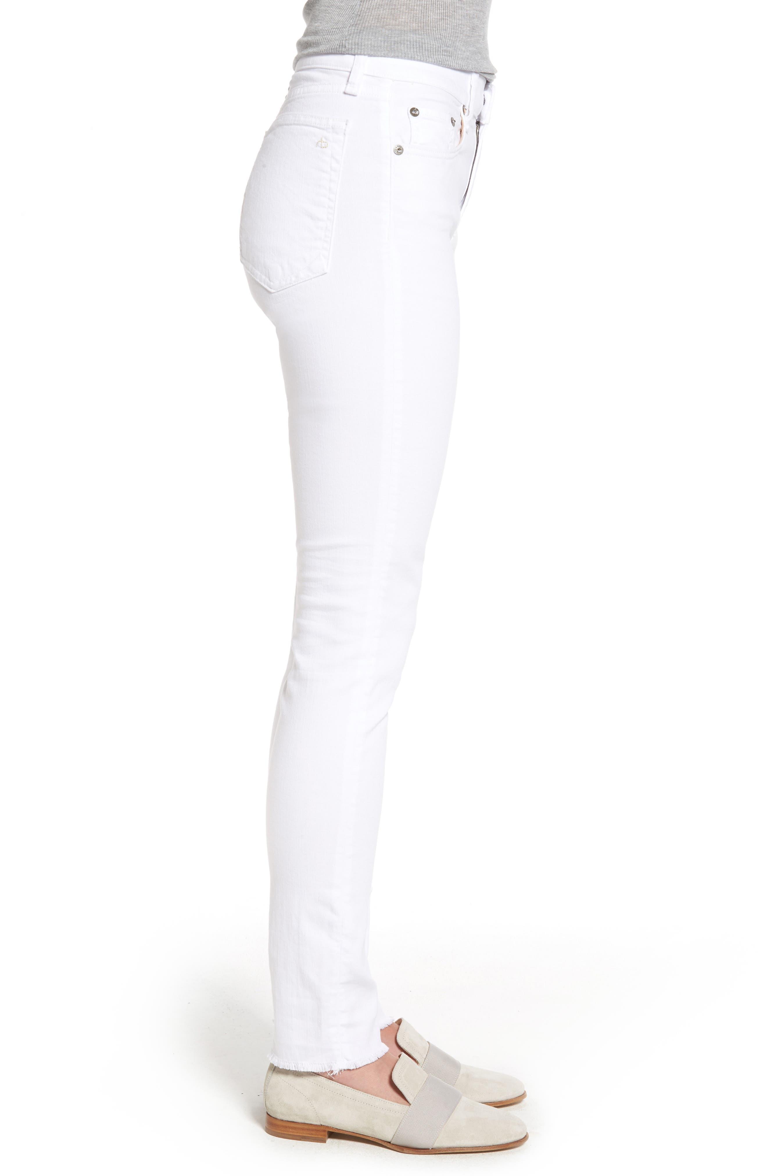 High Waist Step Hem Slim Boyfriend Jeans,                             Alternate thumbnail 3, color,                             Aged Bright White