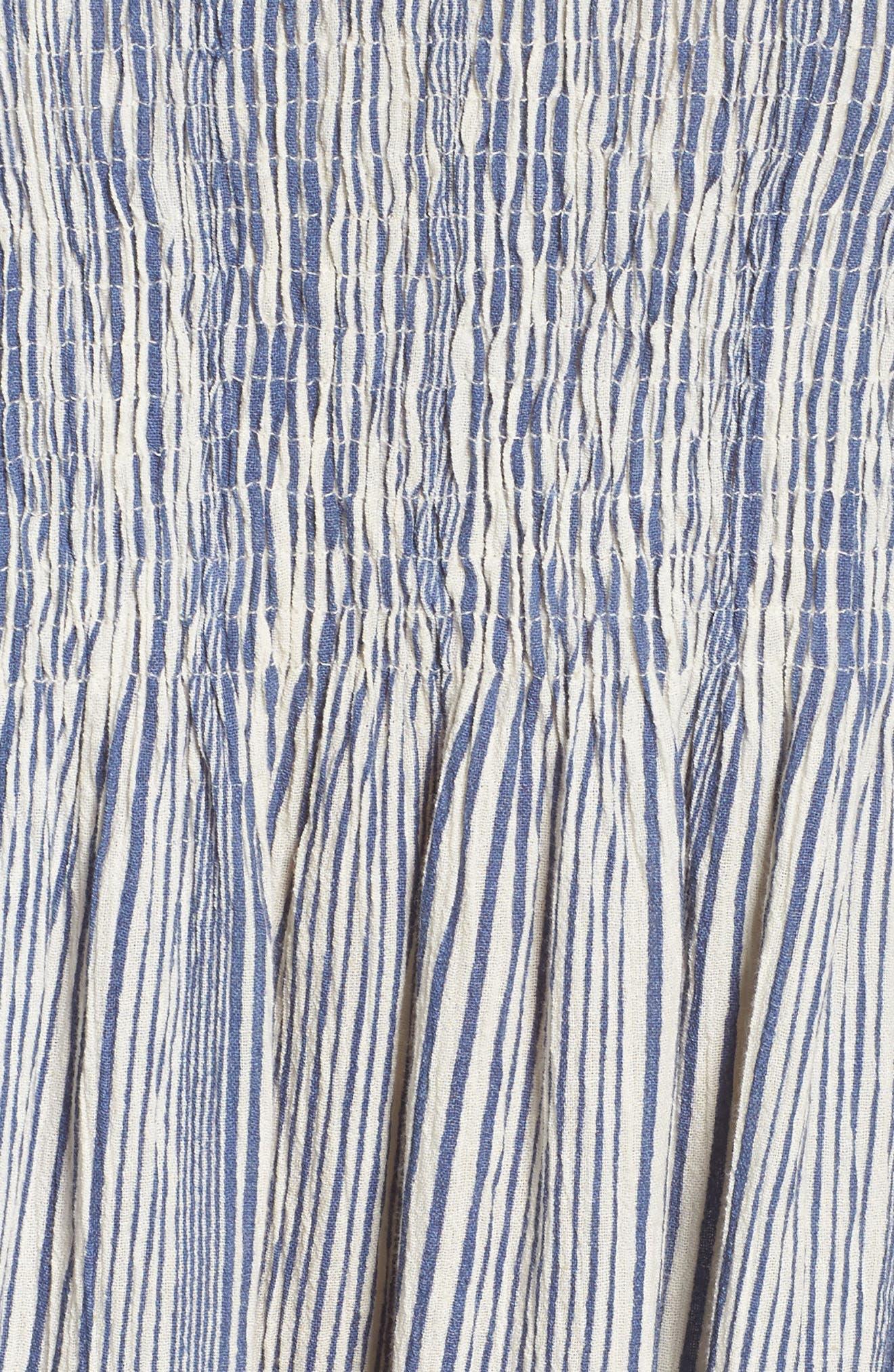 Serge Smocked Dress,                             Alternate thumbnail 5, color,                             Indian Ocean
