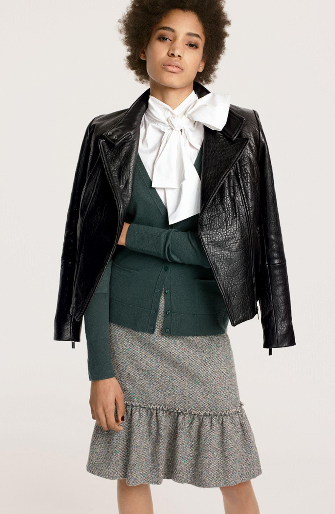 Alternate Image 3  - Halogen® Leather Jacket (Regular & Petite)