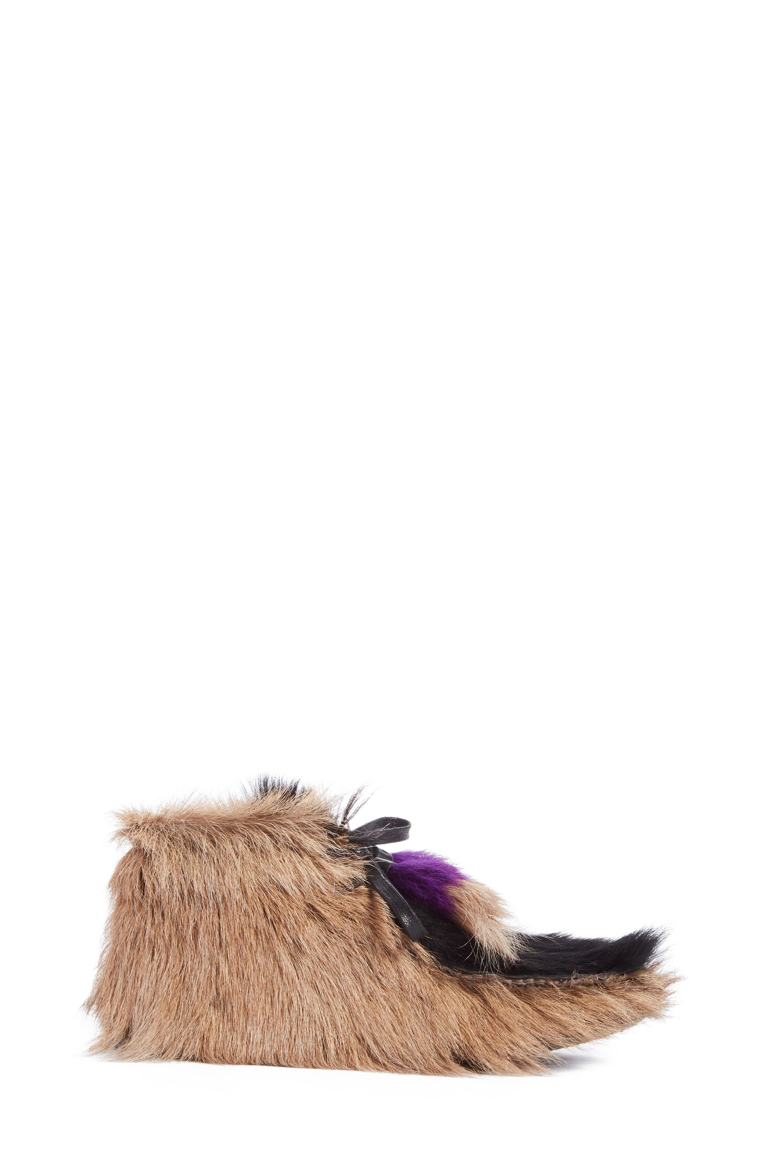 Genuine Shearling and Goat Hair Bootie,                             Alternate thumbnail 4, color,                             Beige Multi