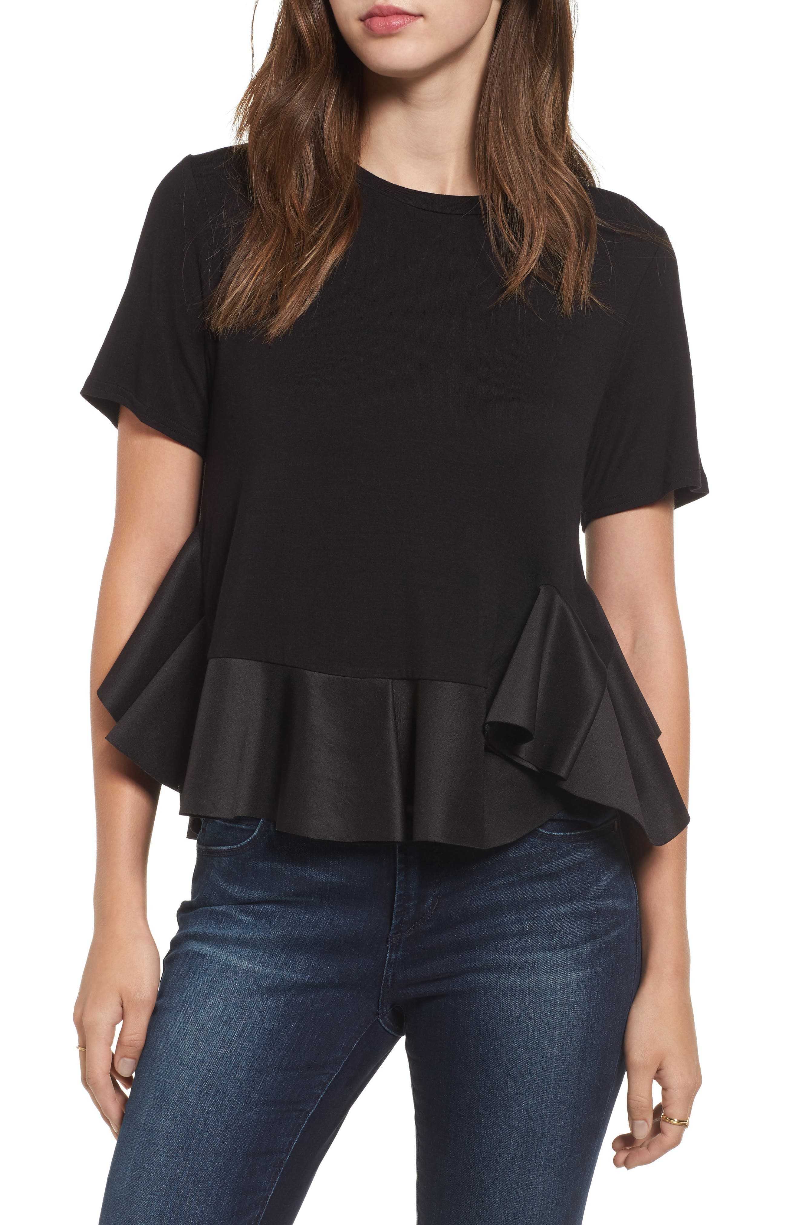 Alternate Image 1 Selected - BP. Stretch Cotton Peplum Top