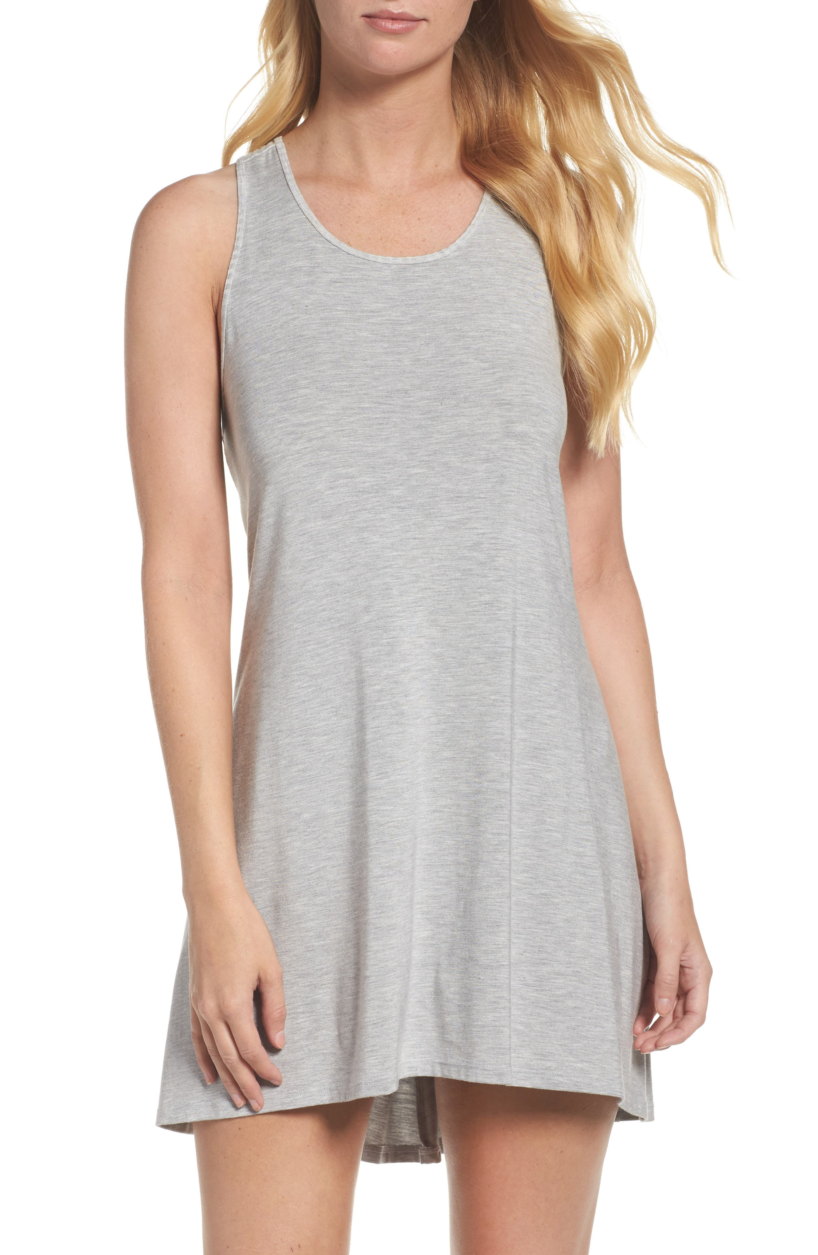 Chelsea High/Low Chemise,                             Main thumbnail 1, color,                             Heather Grey