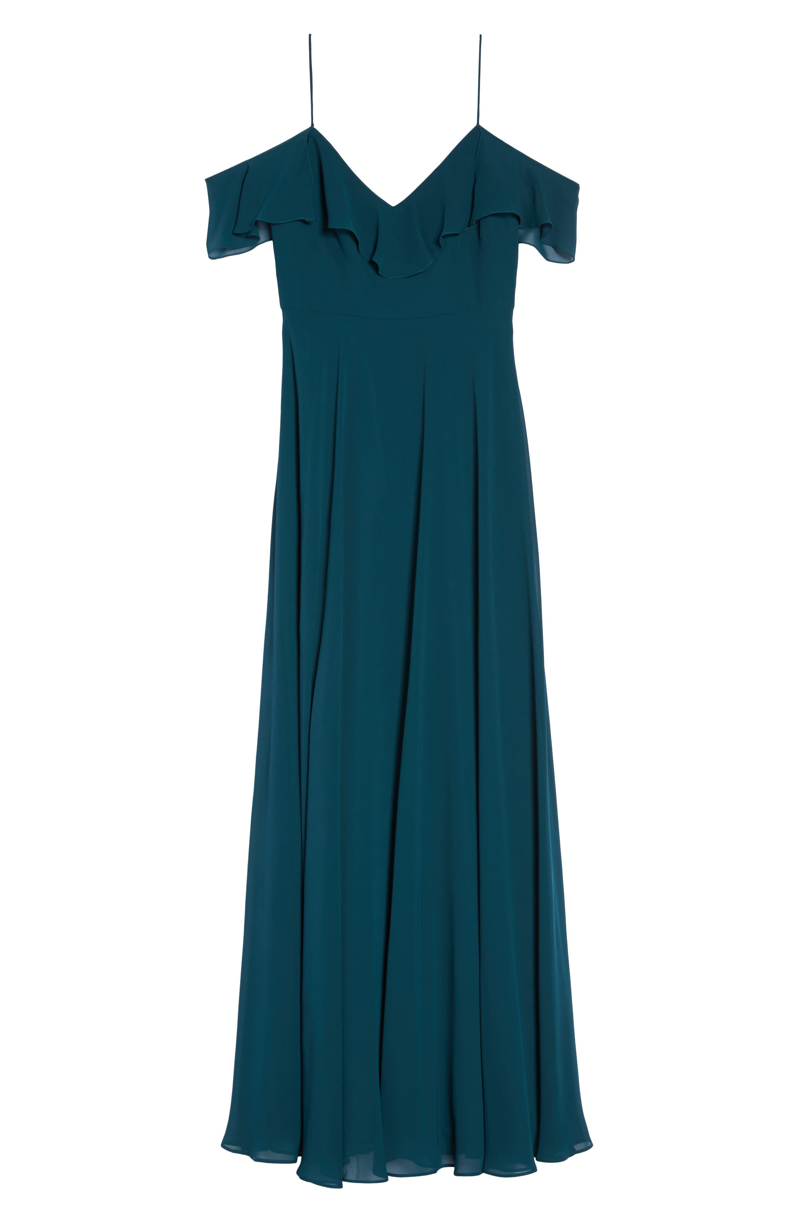 Alternate Image 6  - Jenny Yoo Cold Shoulder Chiffon Gown