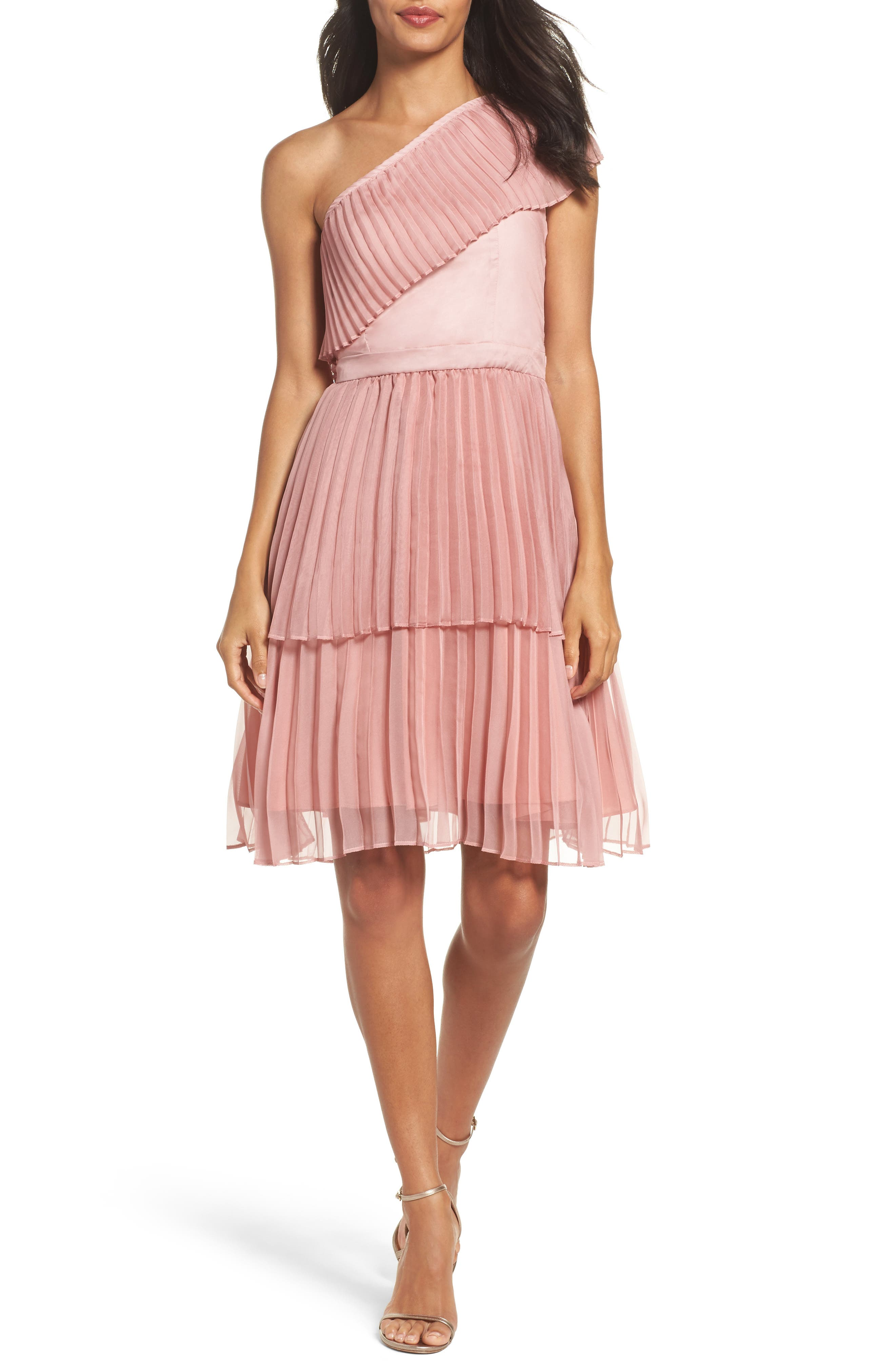 Pleated Tiered One-Shoulder Dress,                         Main,                         color, Dusty Pink
