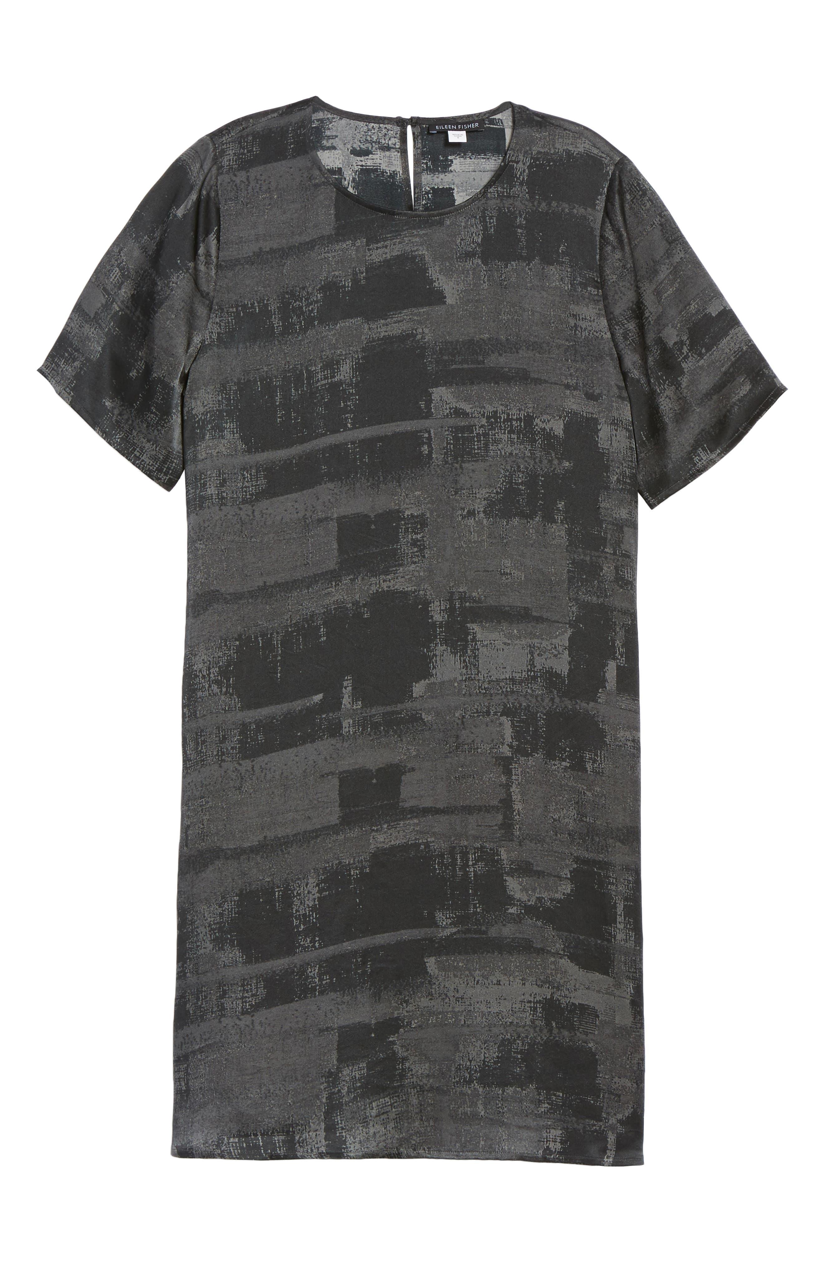 Alternate Image 6  - Eileen Fisher Print Silk Shift Dress