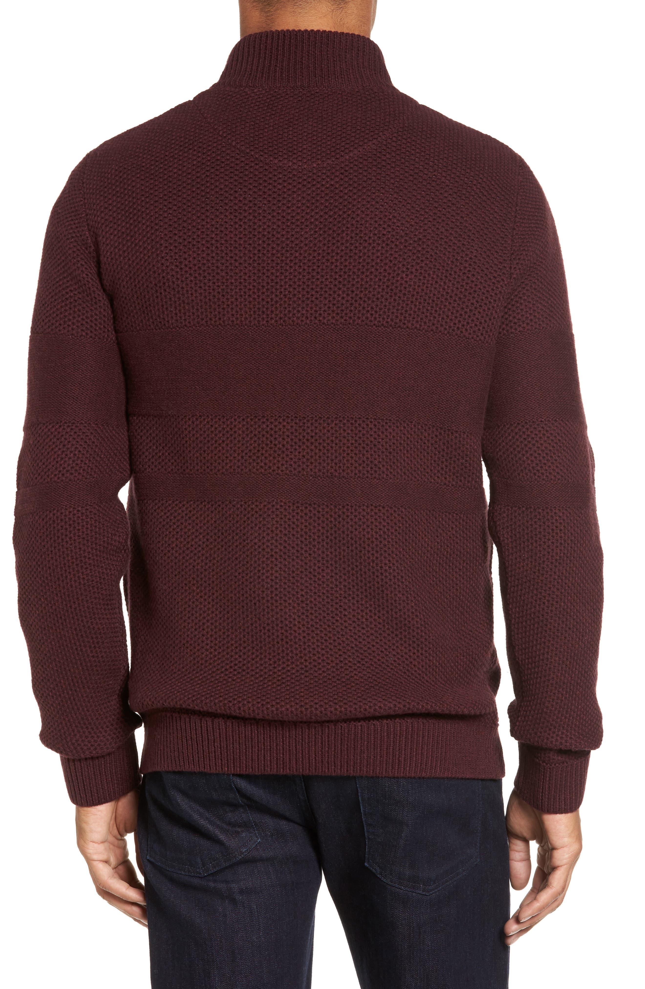 Alternate Image 2  - Nordstrom Men's Shop Texture Cotton & Cashmere Quarter Zip Sweater (Regular & Tall)