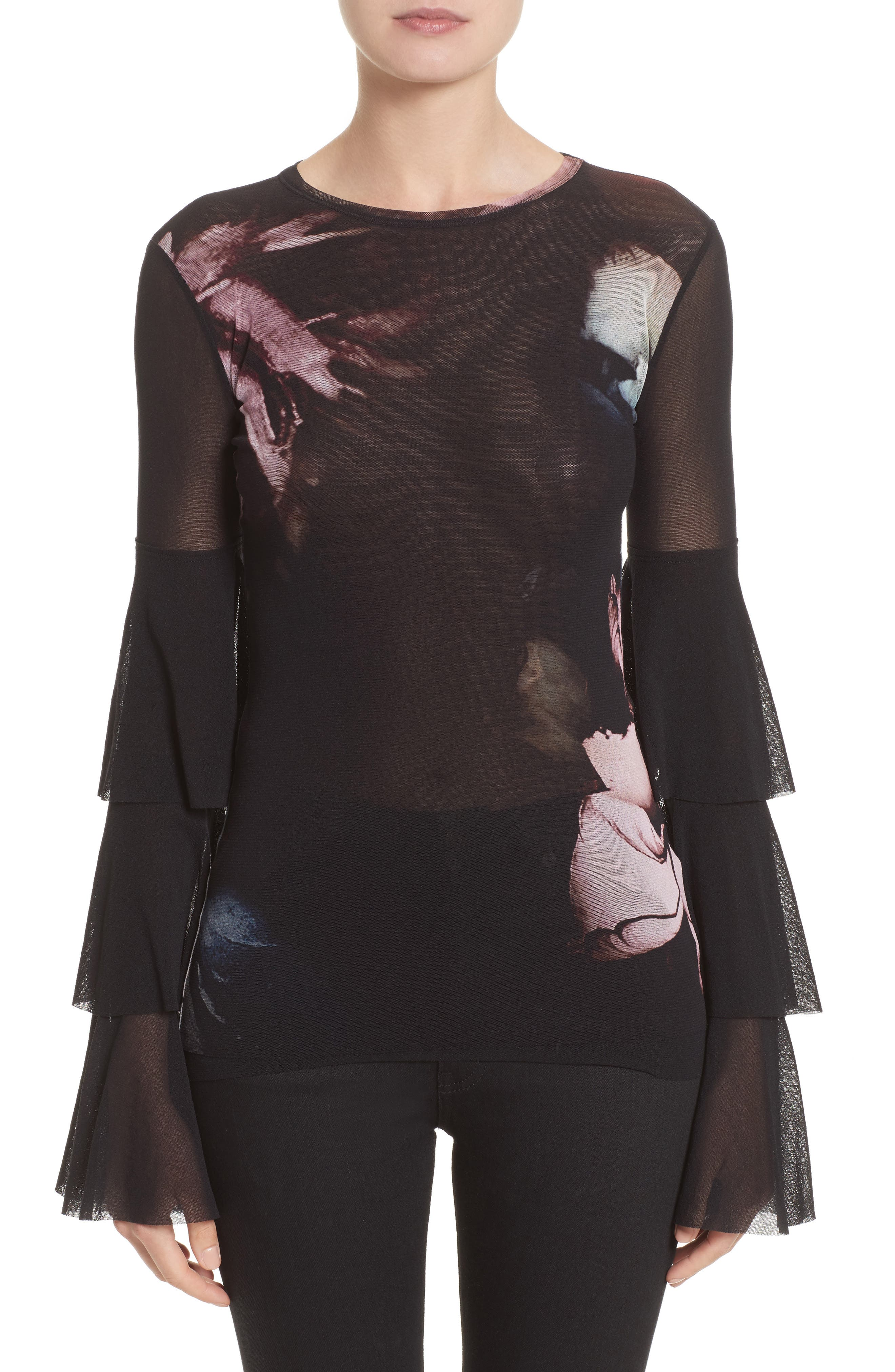 Tiered Sleeve Floral Print Tulle Top,                         Main,                         color, Graphite