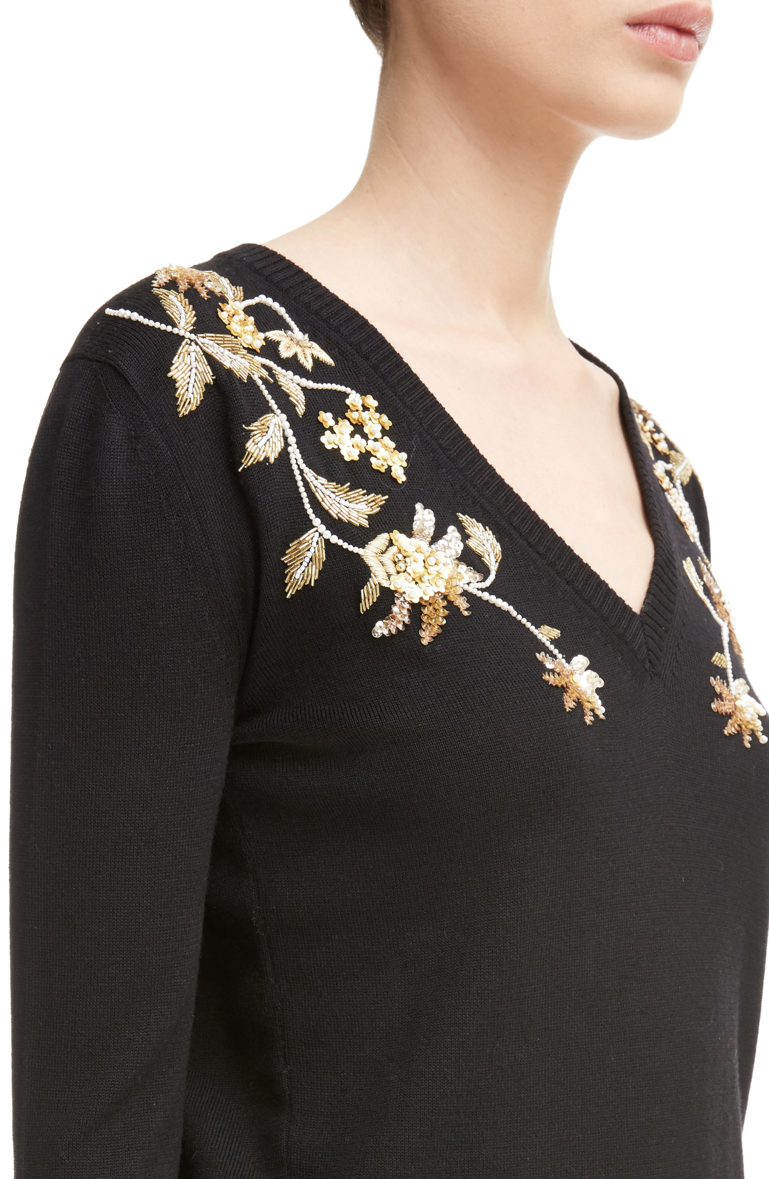 Piera Beaded Merino Wool Sweater,                             Alternate thumbnail 4, color,                             Black