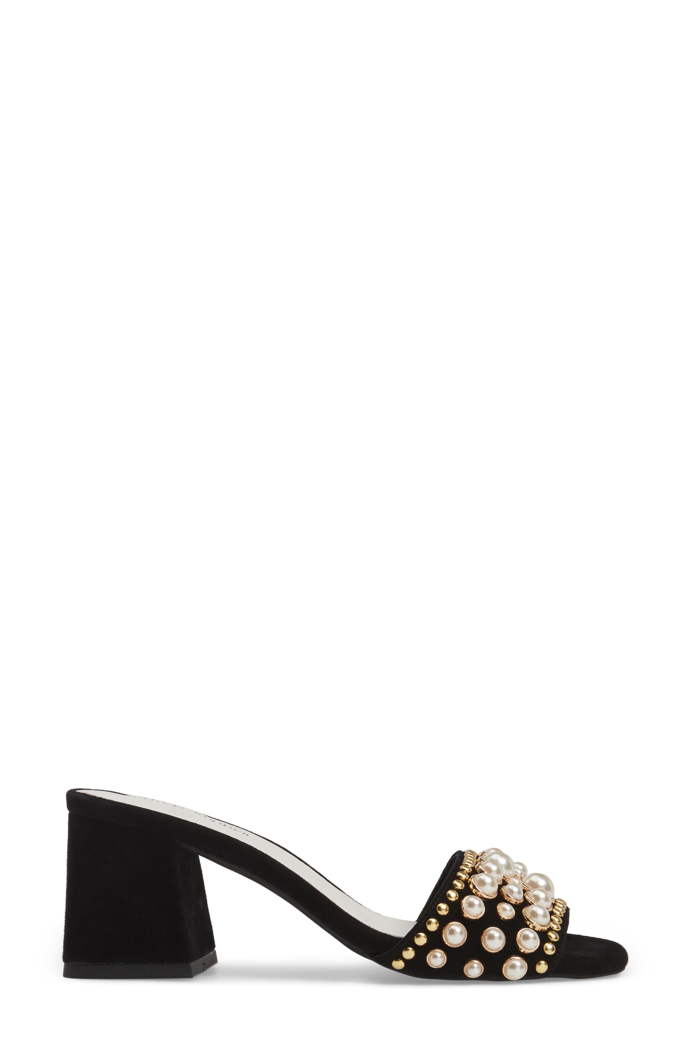 Parr Embellished Slide Sandal,                             Alternate thumbnail 3, color,                             Black Suede