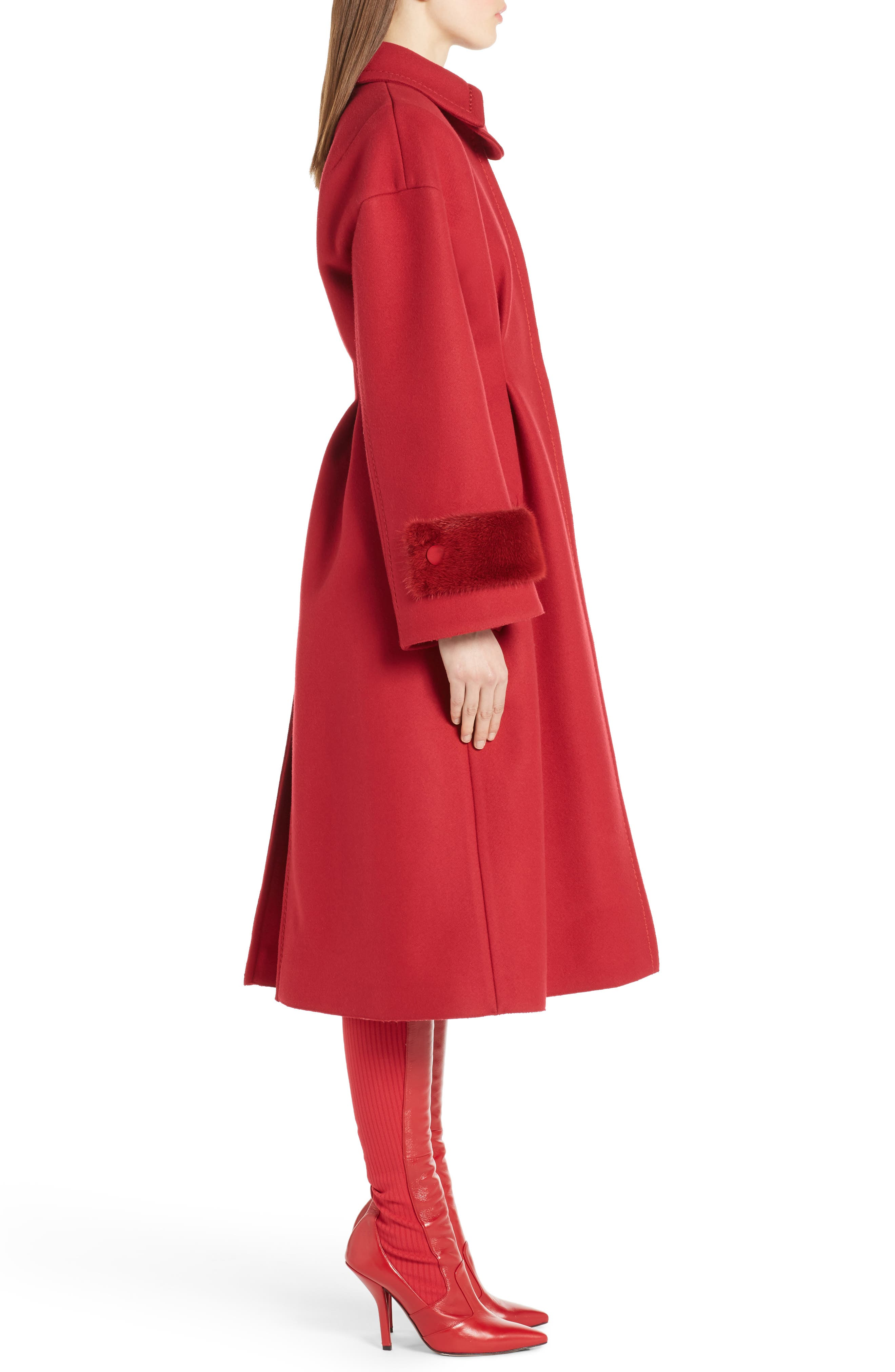 Wool & Cashmere Coat with Genuine Mink Cuffs,                             Alternate thumbnail 3, color,                             Red