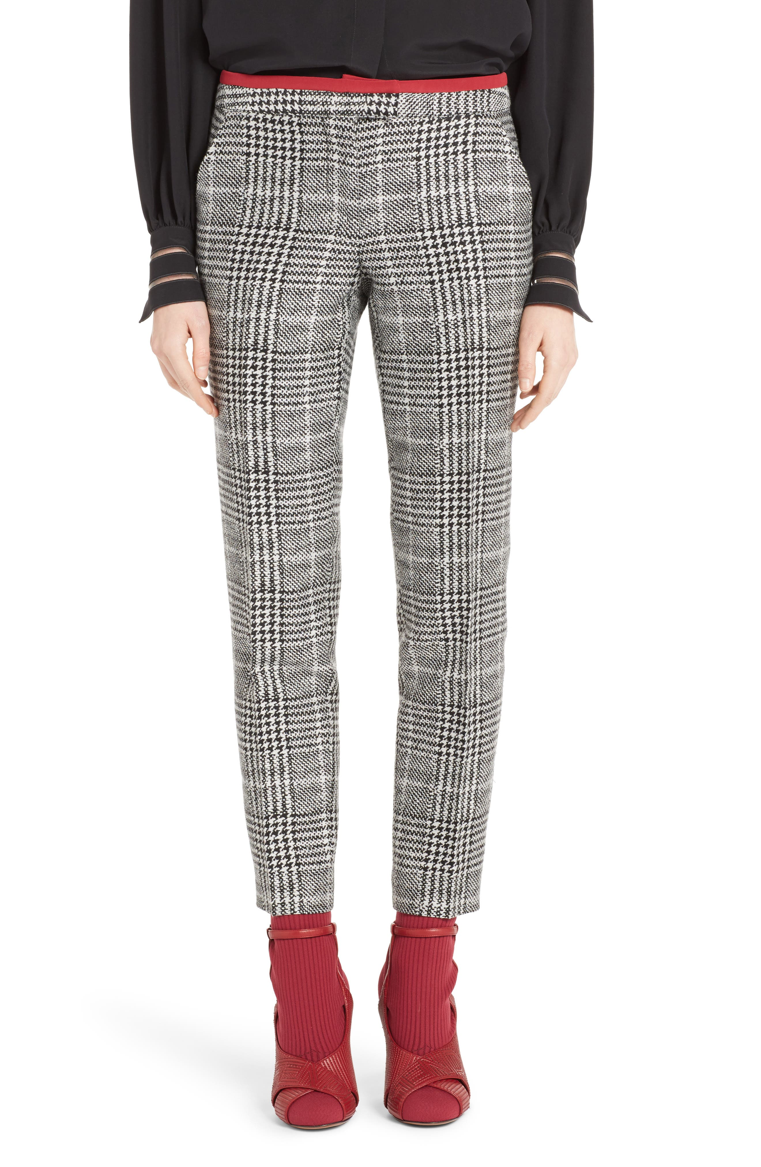 Prince of Wales Print Crop Pants,                         Main,                         color, Black/ White