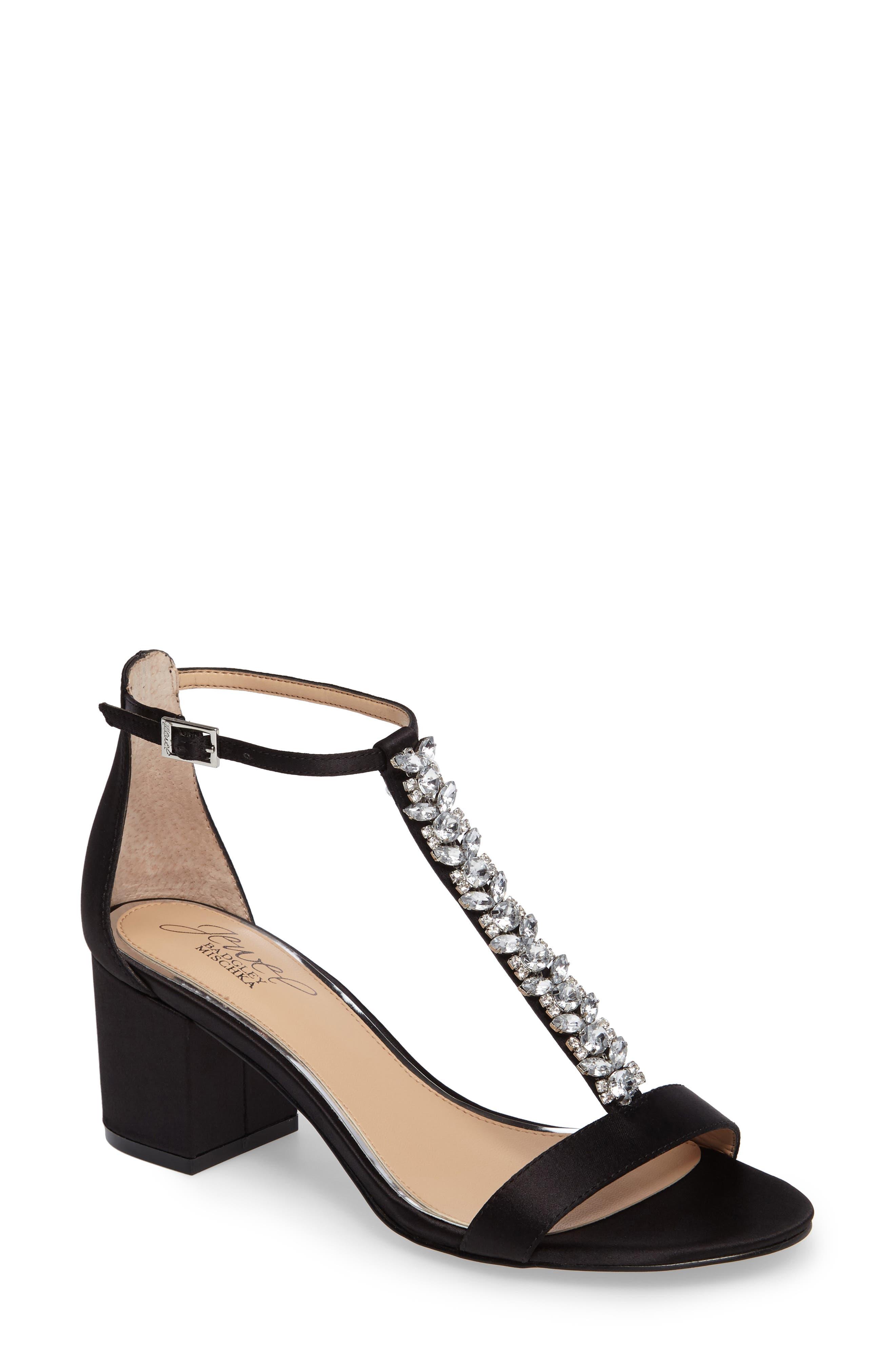 Lindsey Embellished T-Strap Sandal,                             Main thumbnail 1, color,                             Black Satin