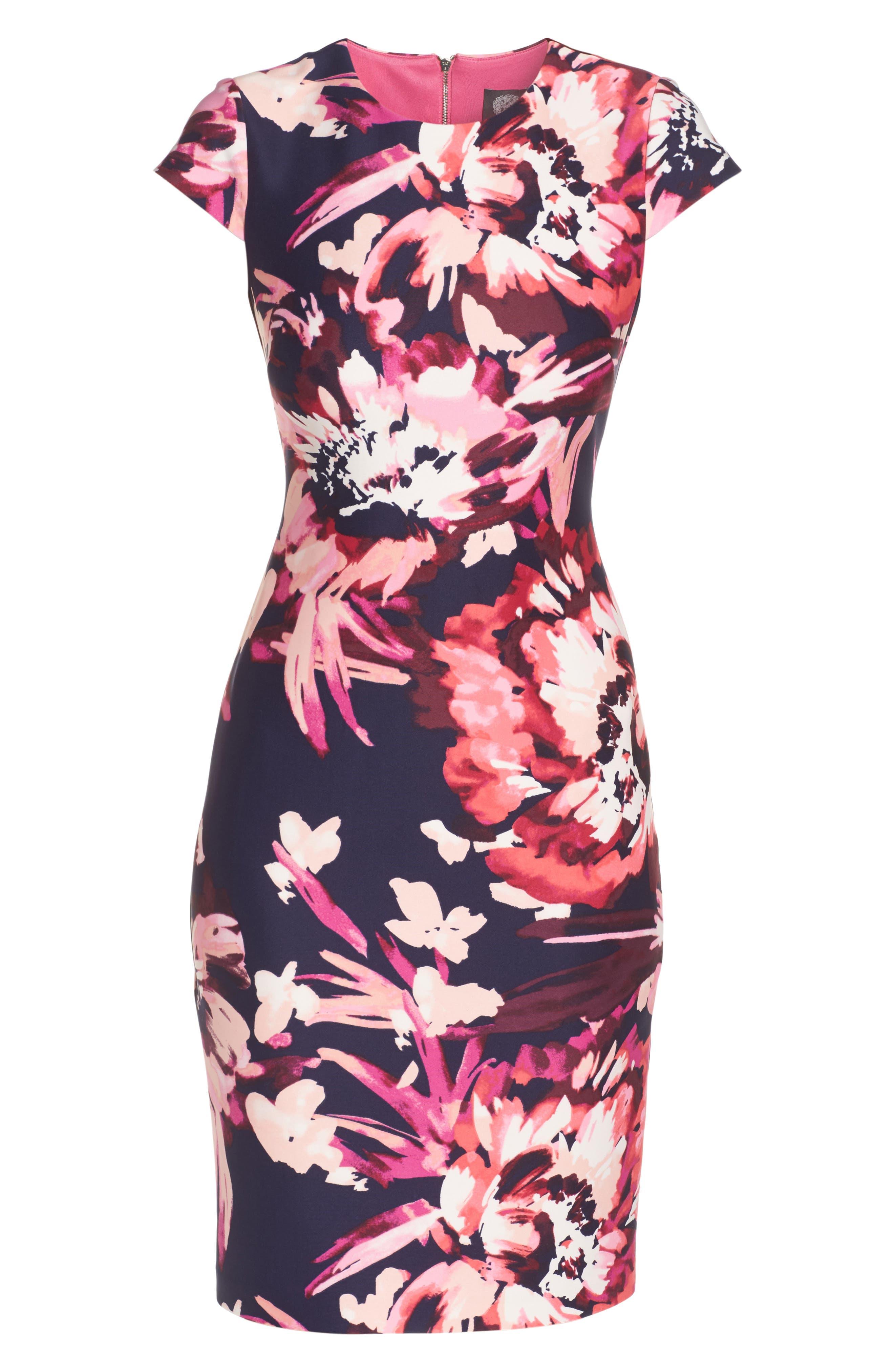 Cap Sleeve Sheath Dress,                             Alternate thumbnail 6, color,                             Pink Multi