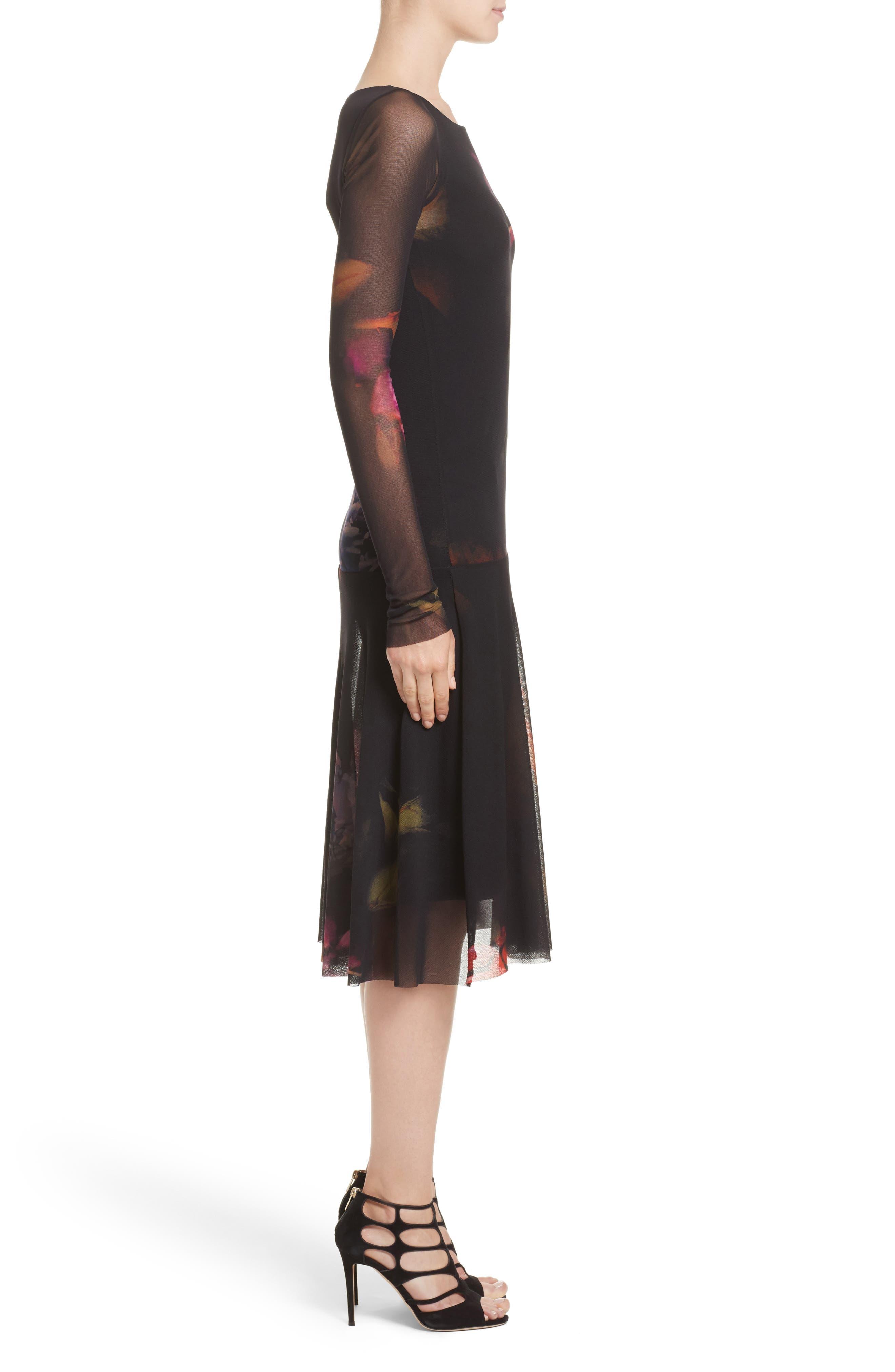 Alternate Image 3  - Fuzzi Floral Print Tulle Drop Waist Midi Dress