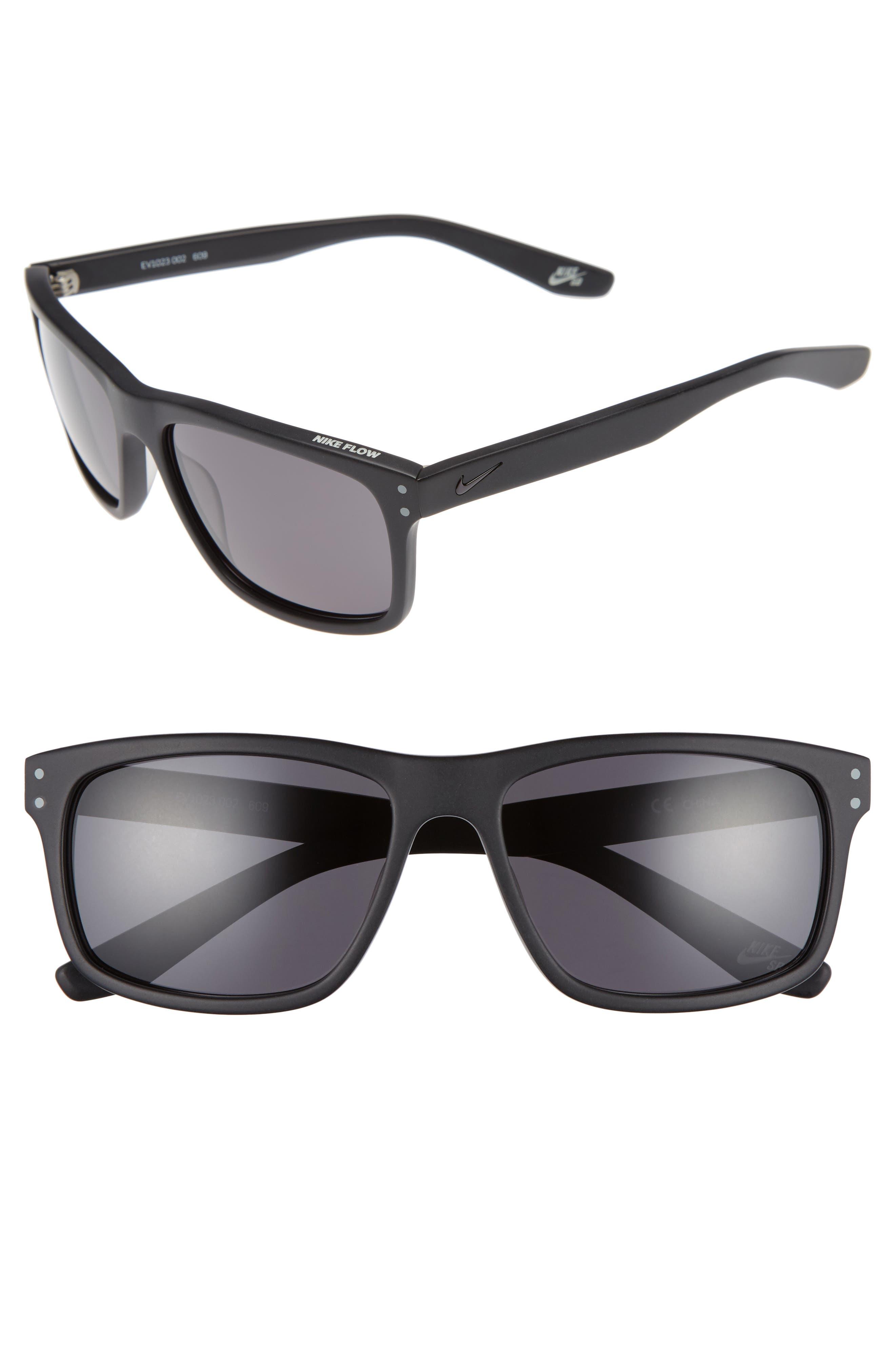 Flow 58mm Sunglasses,                         Main,                         color, Matte Black