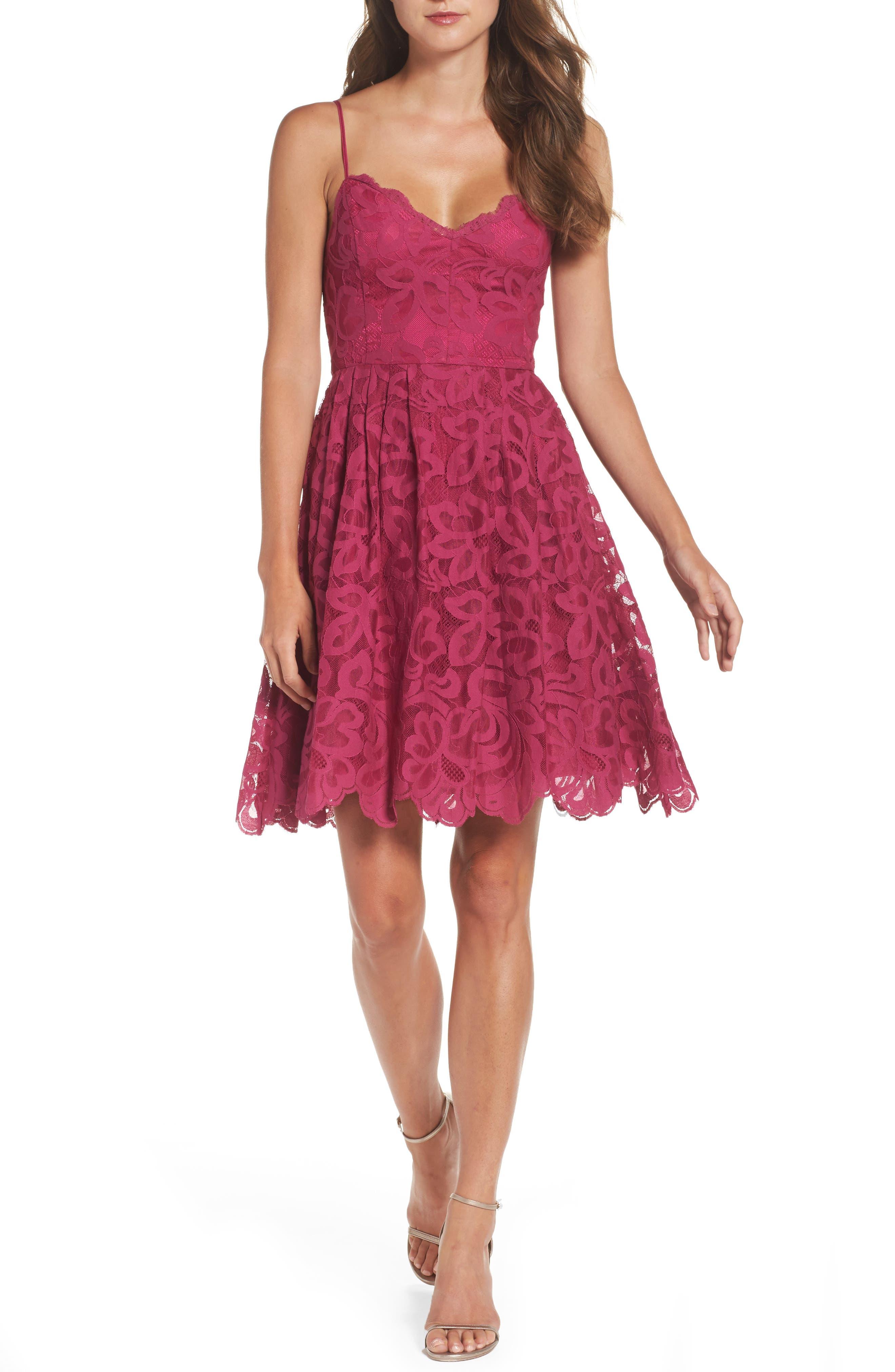 Celeste Scalloped Lace Fit & Flare Dress,                         Main,                         color, Raspberry Sorbet