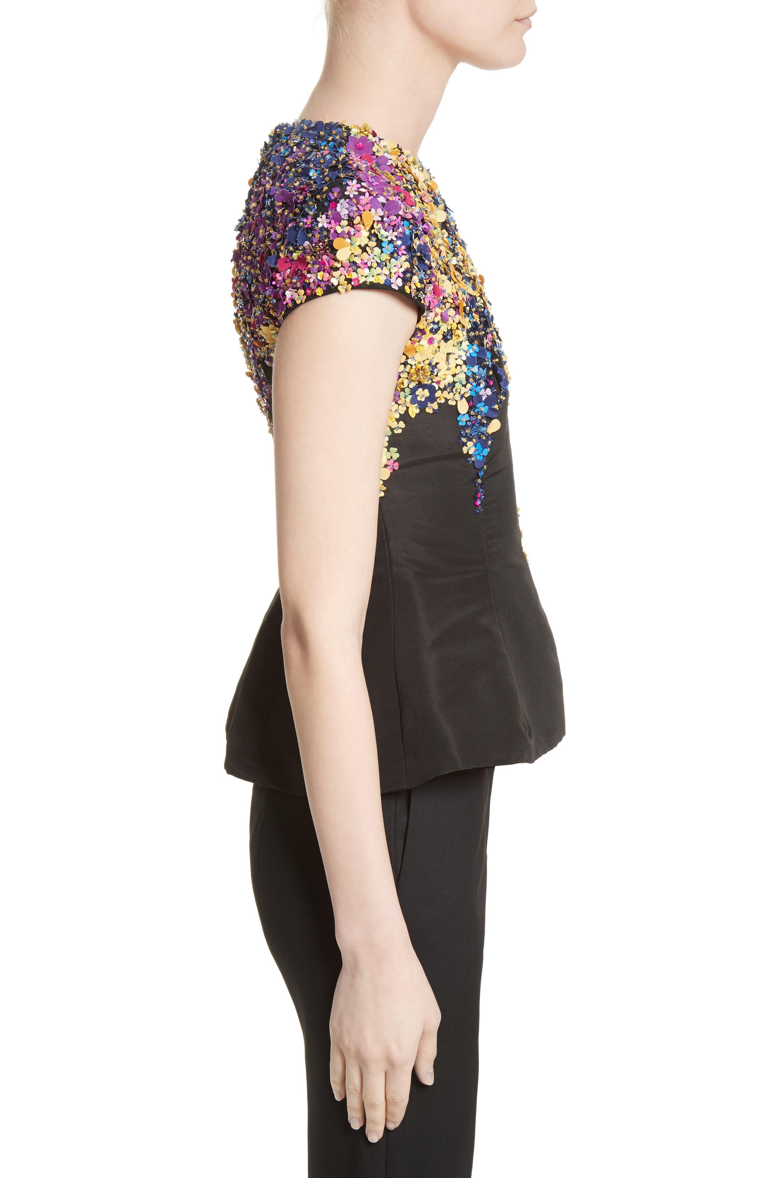 Alternate Image 3  - Oscar de la Renta Tendrils Floral Embroidered Silk Faille Top