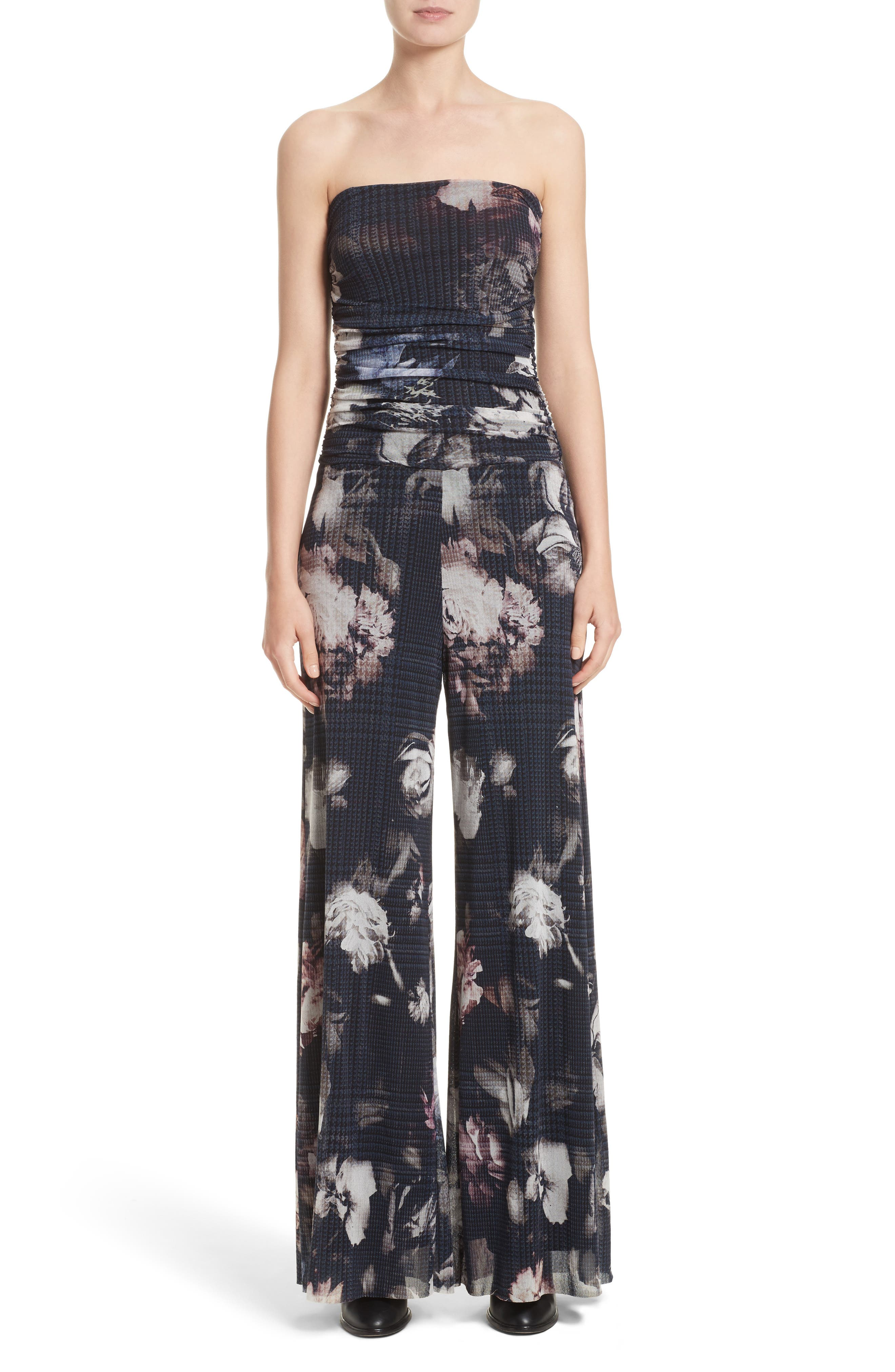 Fuzzi Floral Print Tulle Strapless Jumpsuit
