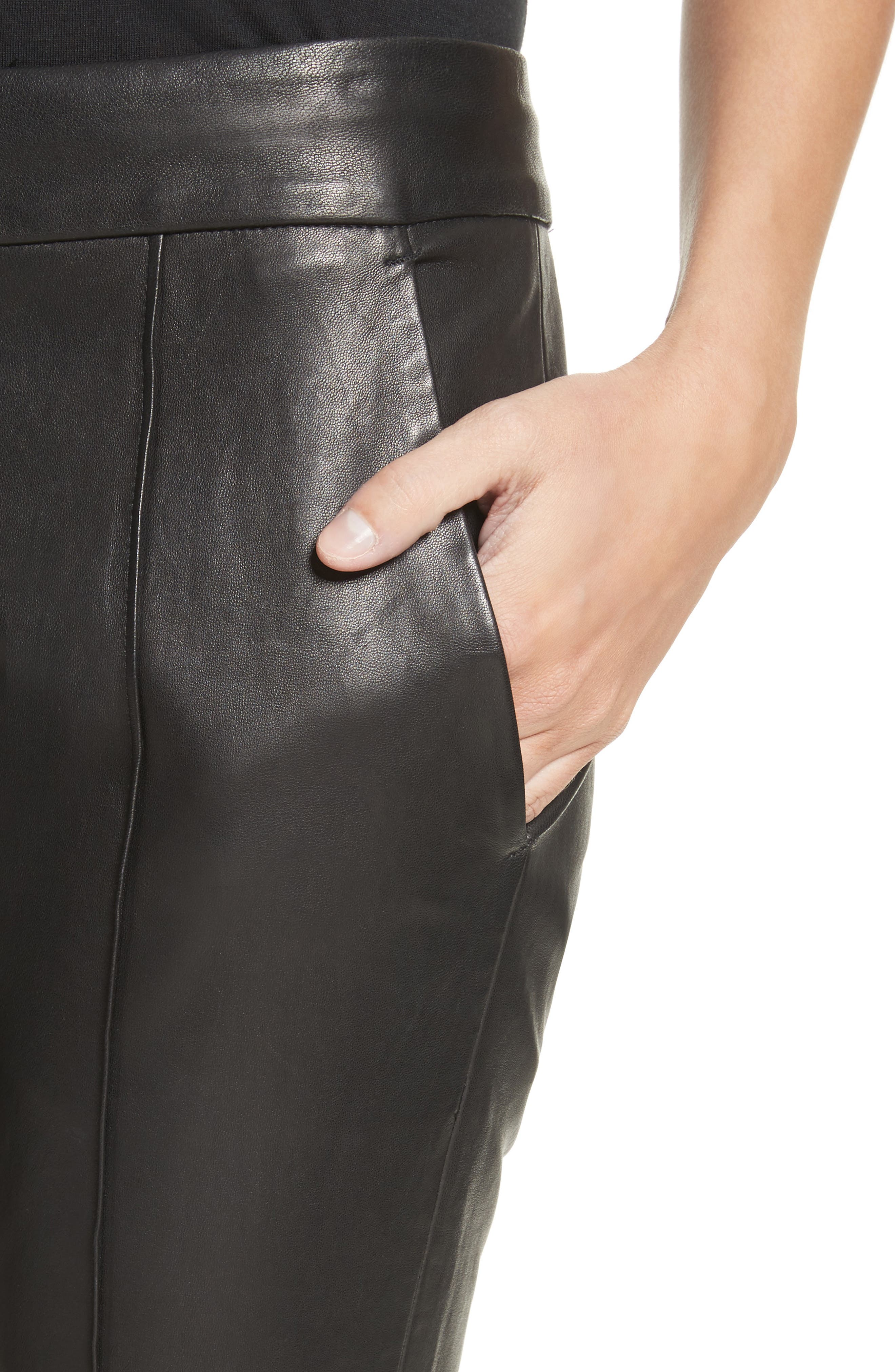Alternate Image 5  - A.L.C. Evan Lambskin Leather Flare Crop Pants