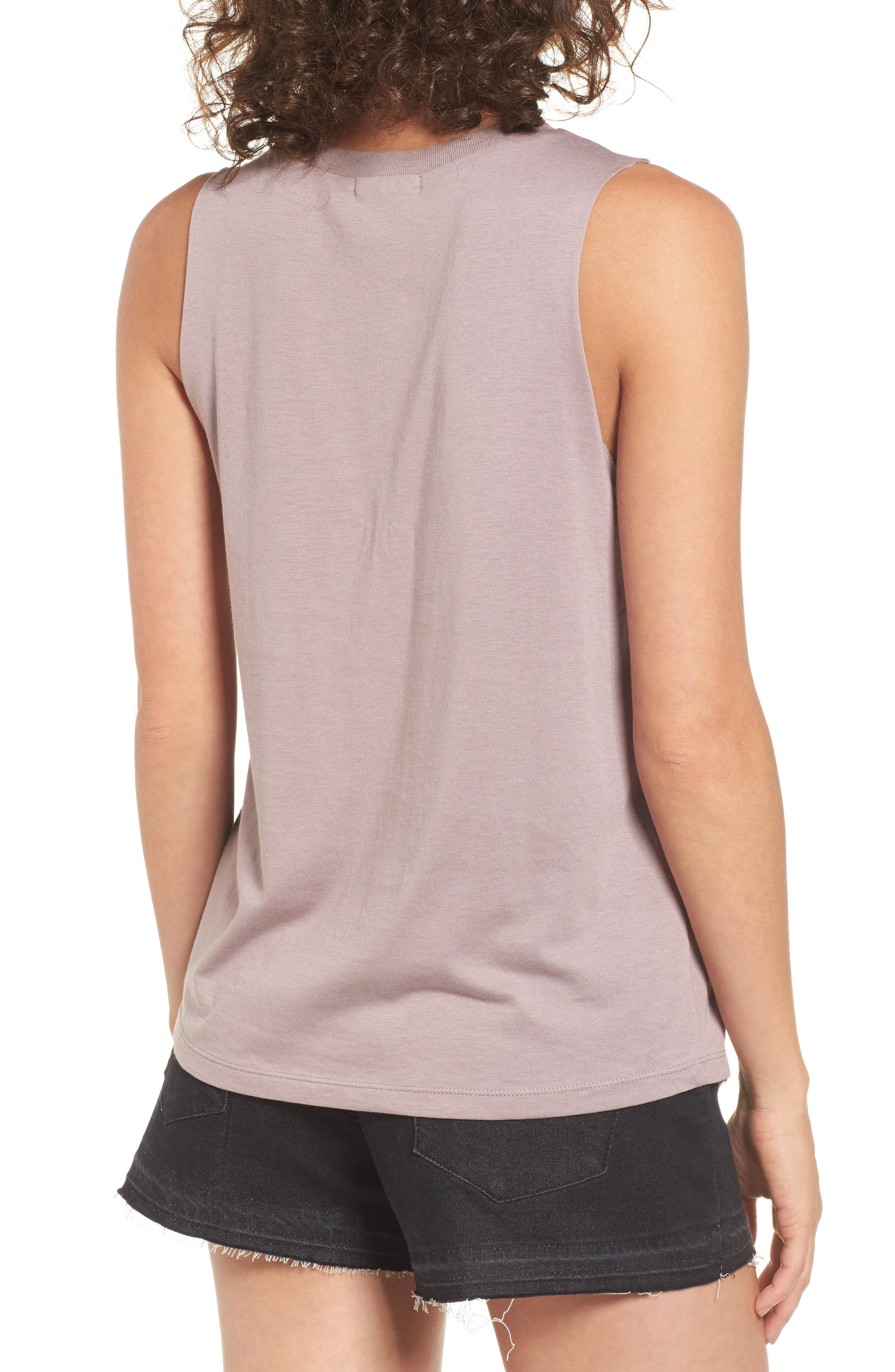 Mesh Inset Graphic Muscle Tee,                             Alternate thumbnail 2, color,                             Purple Peace