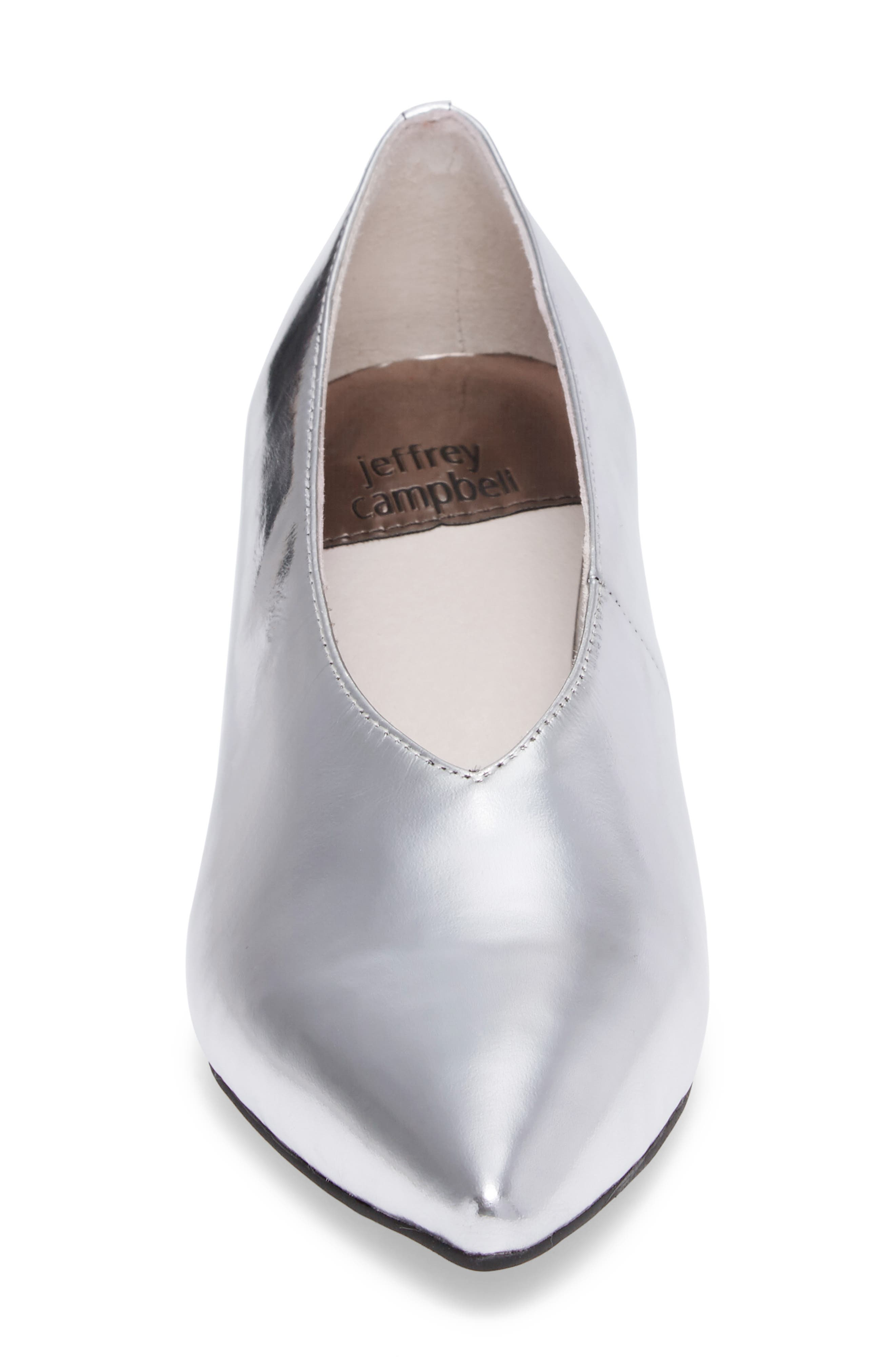 'Carla' Pointy Toe Pump,                             Alternate thumbnail 4, color,                             Silver Crinkle Metallic