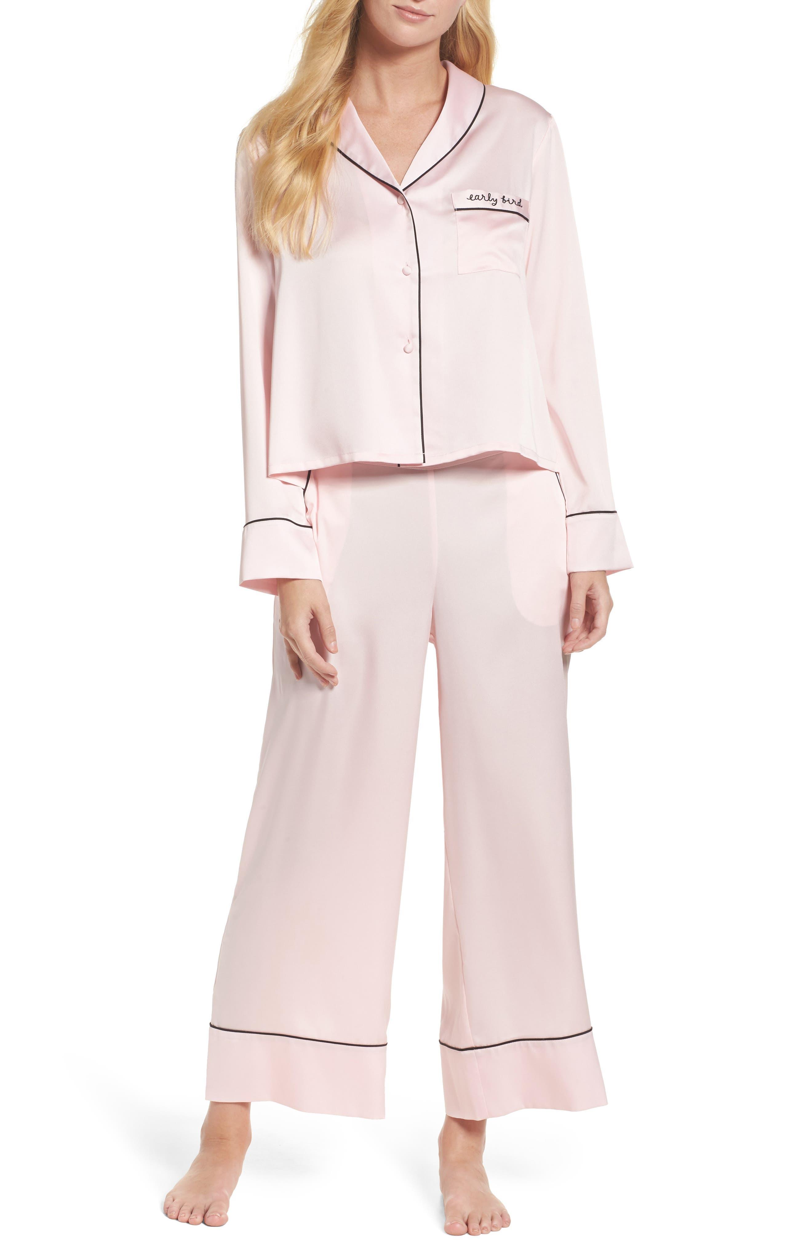 crop pajamas,                             Main thumbnail 1, color,                             Pink