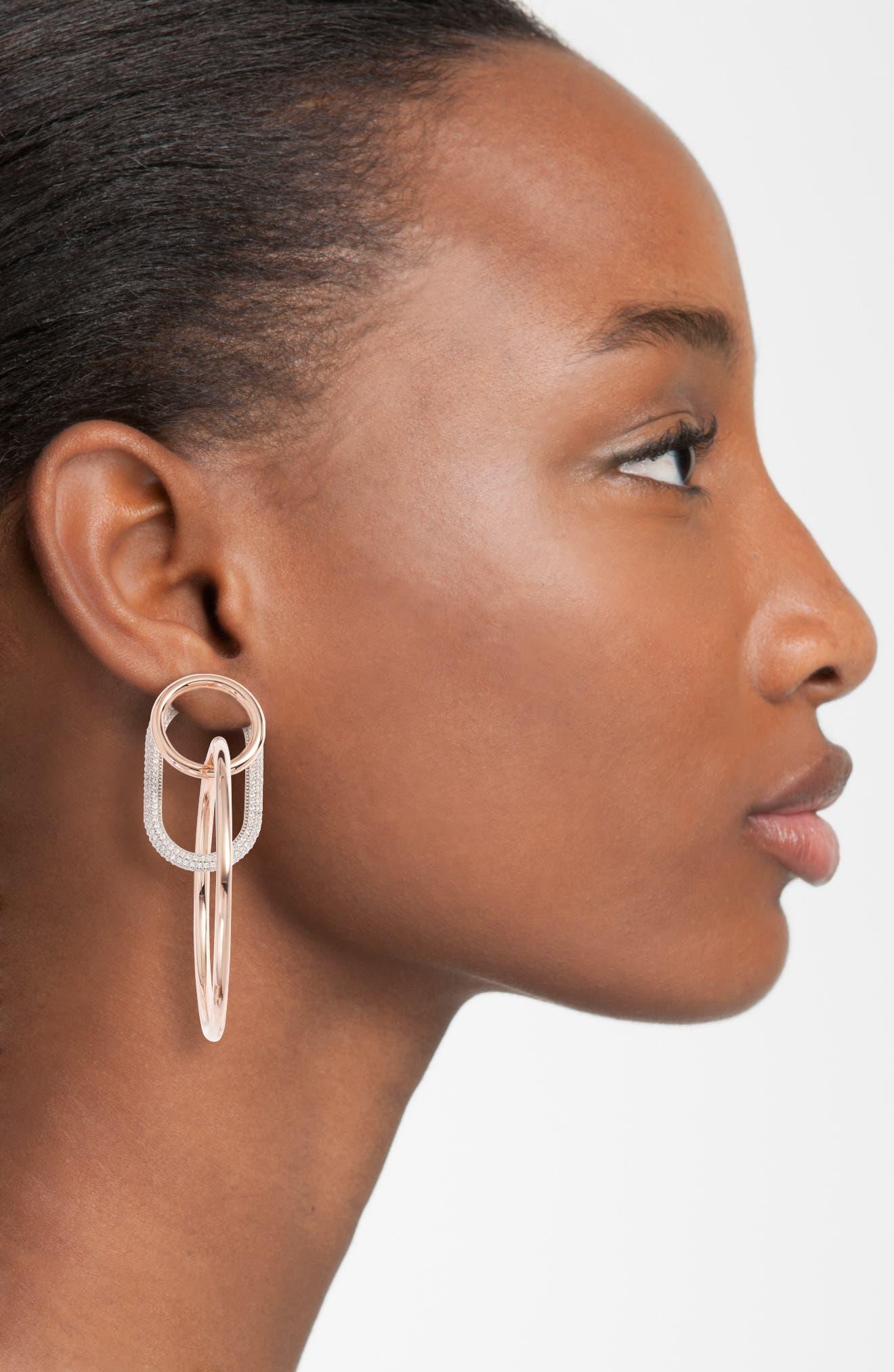 Triple Ring Pavé Earrings,                             Alternate thumbnail 2, color,                             Rose Gold
