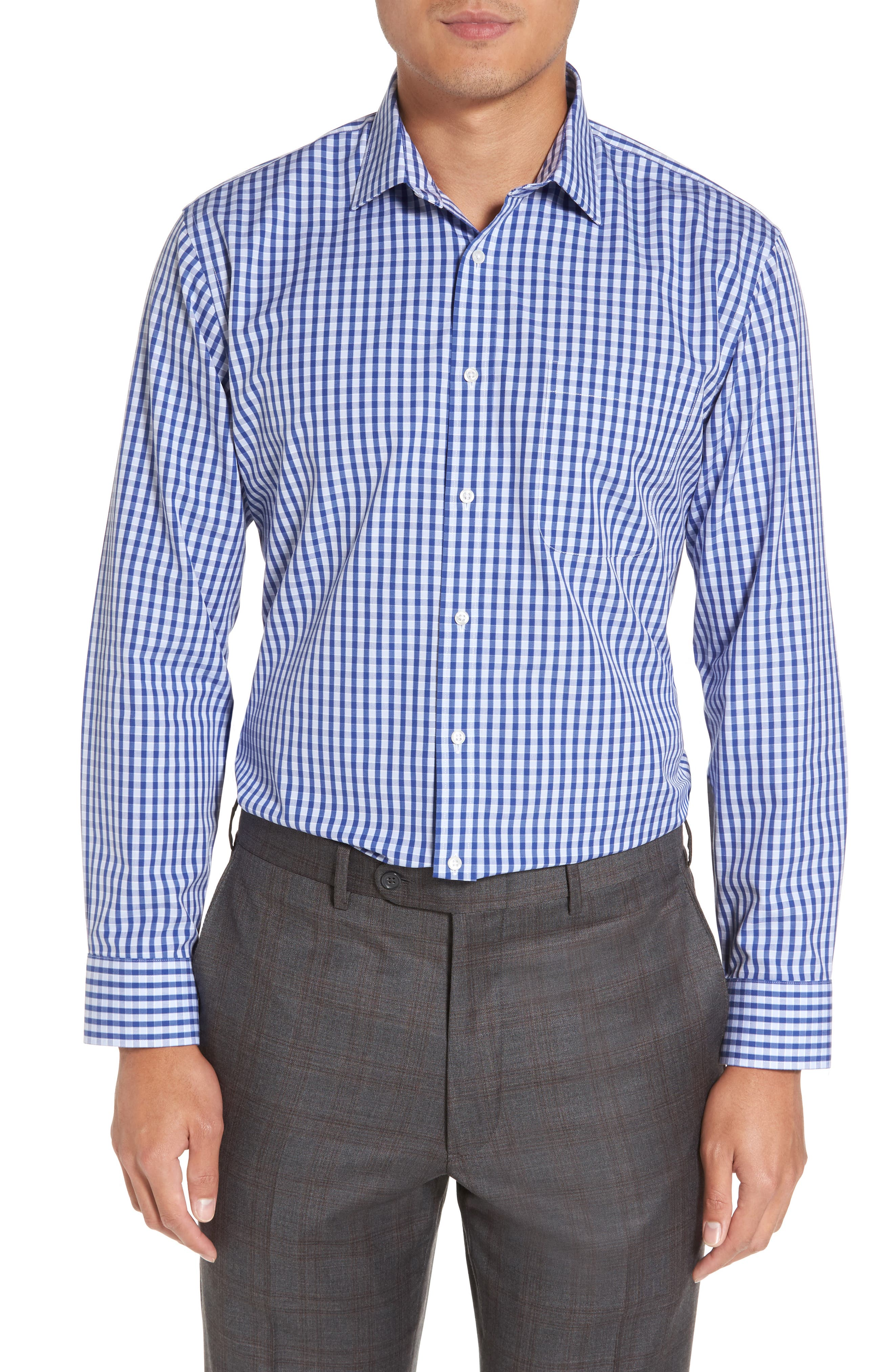Smartcare<sup>™</sup> Trim Fit Check Dress Shirt,                             Alternate thumbnail 2, color,                             Blue Marine