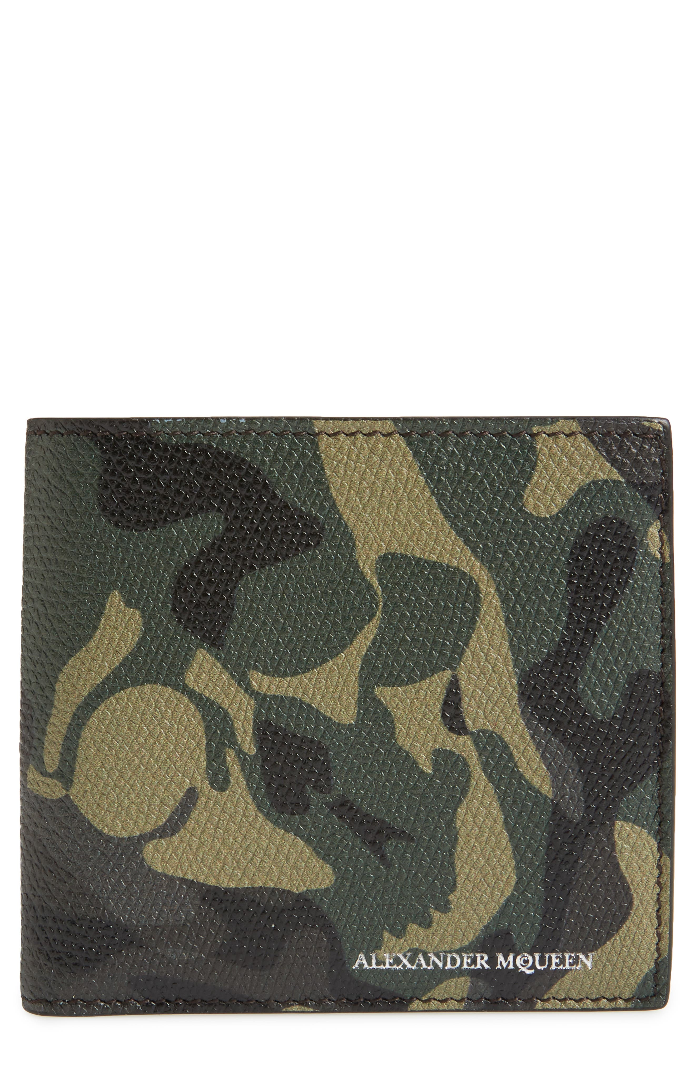 Camo Leather Billfold Wallet,                         Main,                         color, Black/ Military