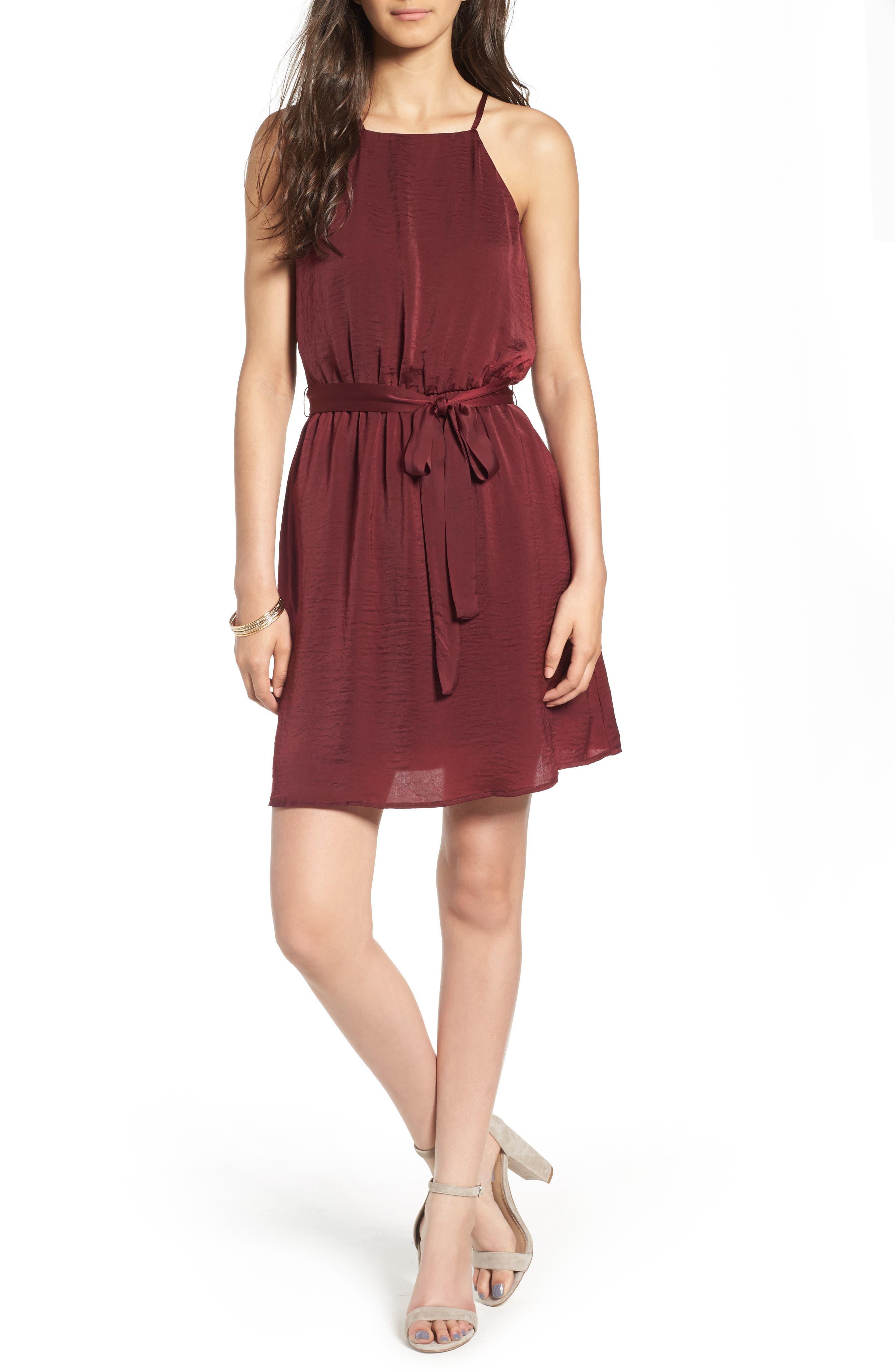 As You Wish Tie Waist Dress,                         Main,                         color, Wine