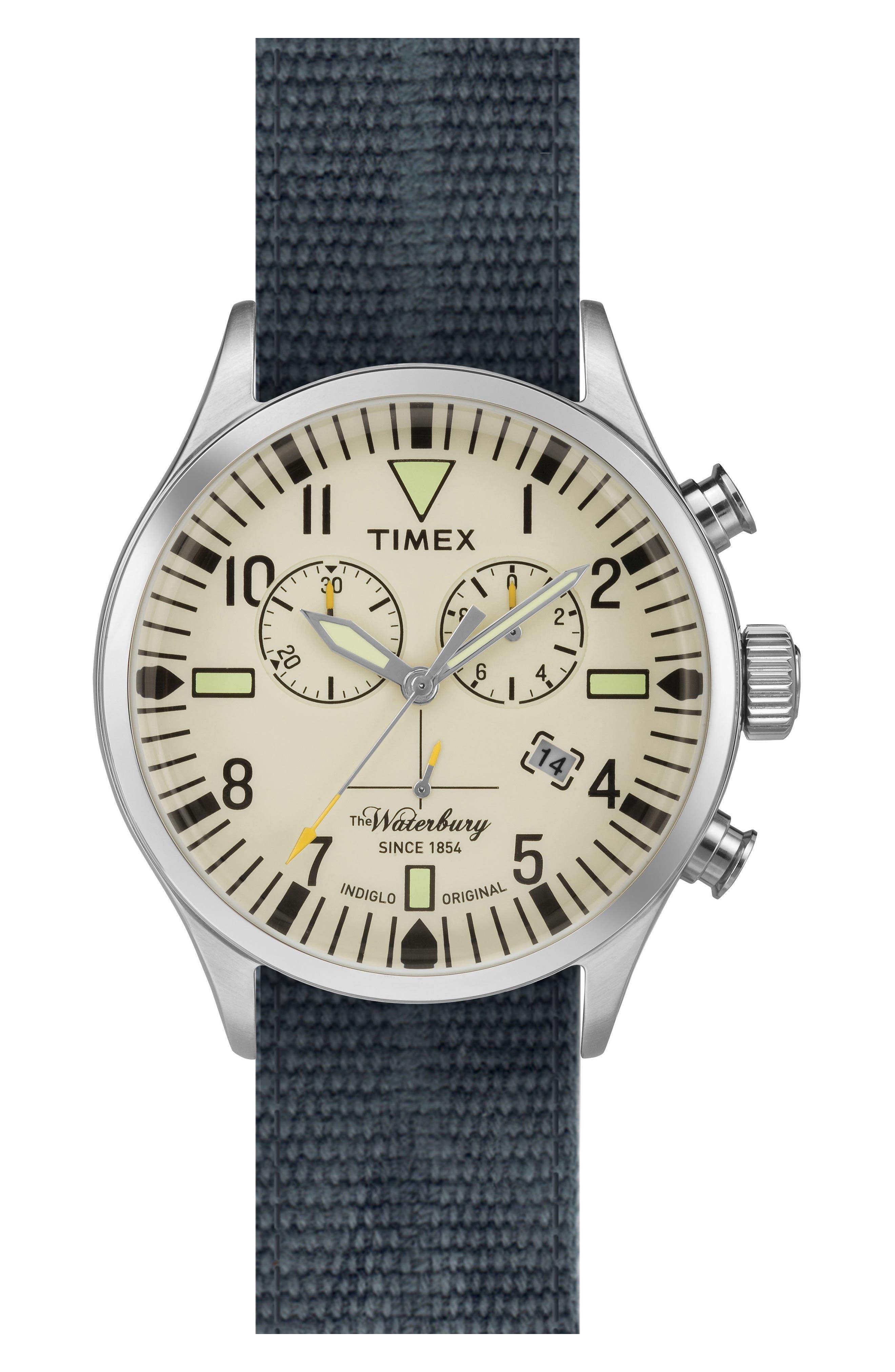 Waterbury Chronograph Fabric Strap Watch, 42mm,                         Main,                         color, Cream/ Avio Blue