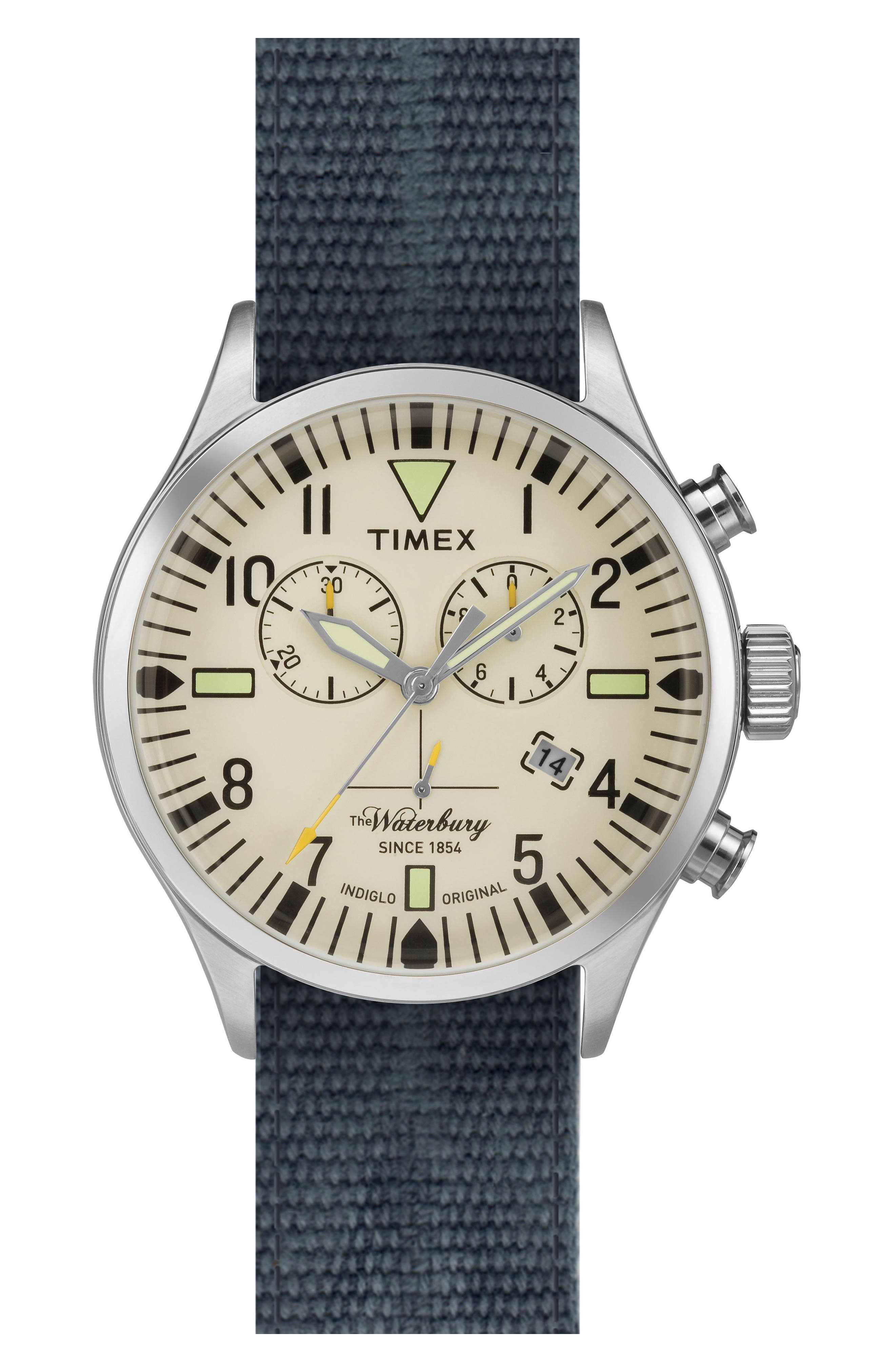 Timex® ARCHIVE Waterbury Chronograph Fabric Strap Watch, 42mm
