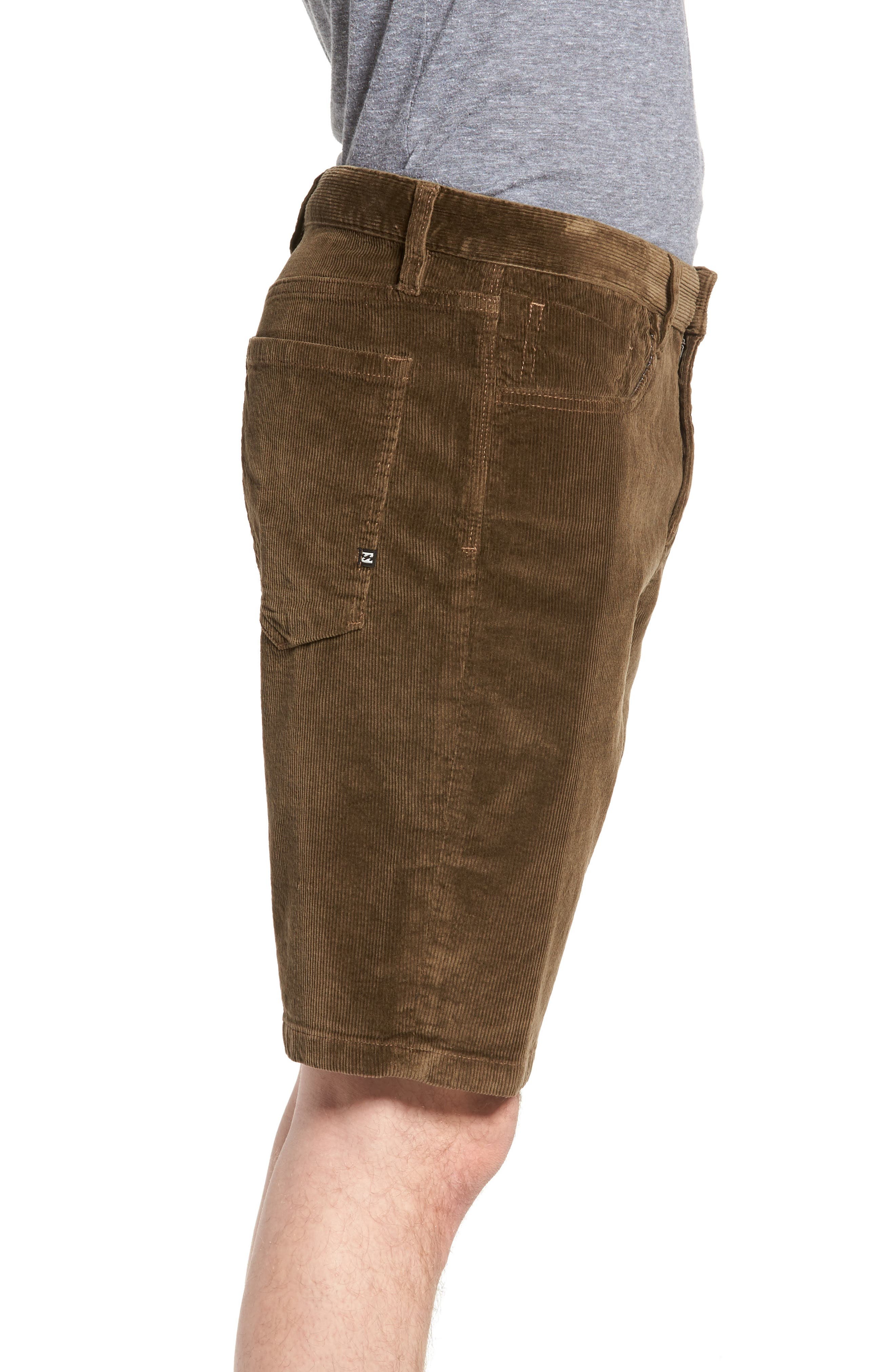 Outsider Corduroy Shorts,                             Alternate thumbnail 3, color,                             Brown