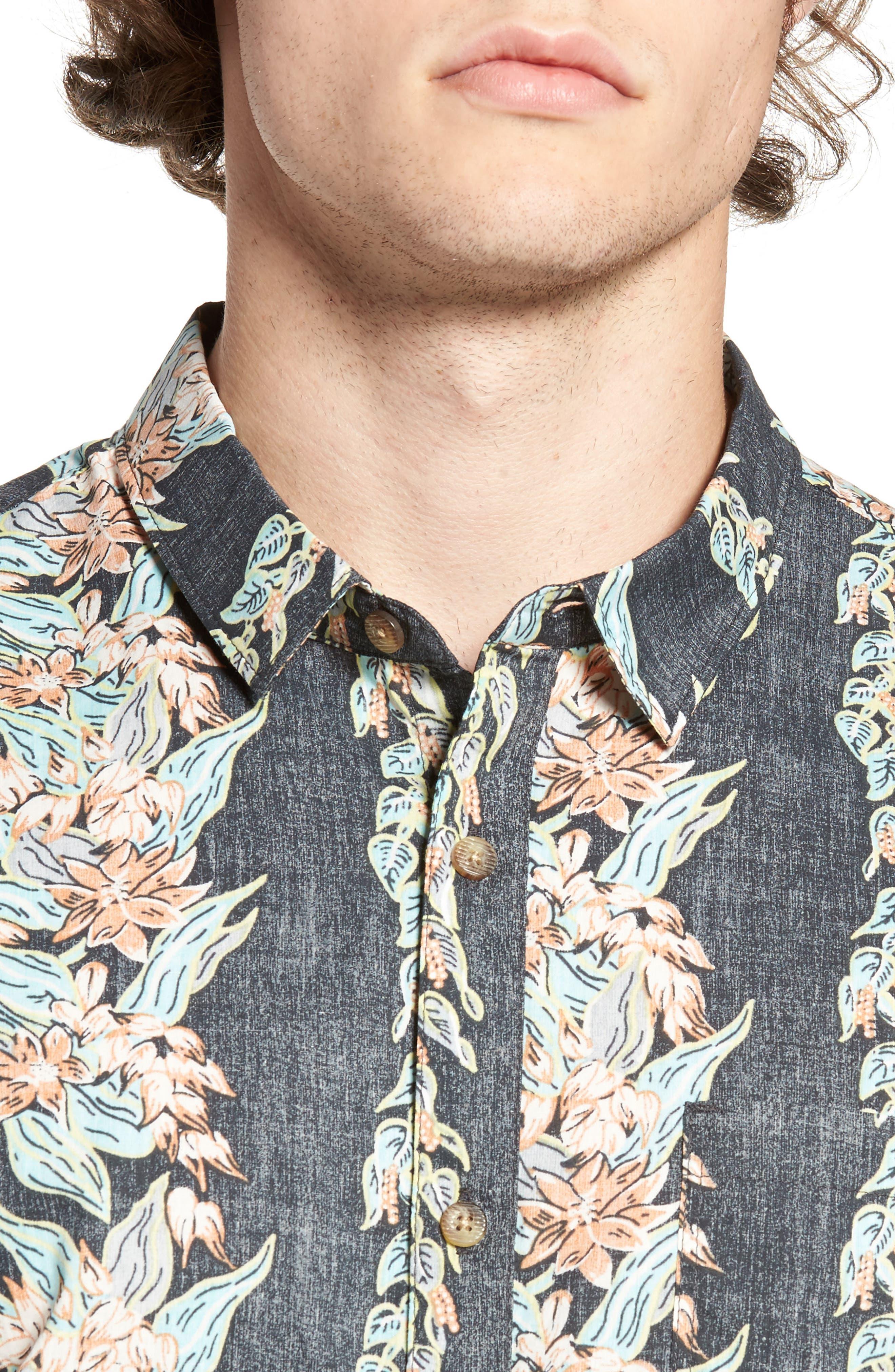 Sundays Floral Woven Shirt,                             Alternate thumbnail 4, color,                             Black