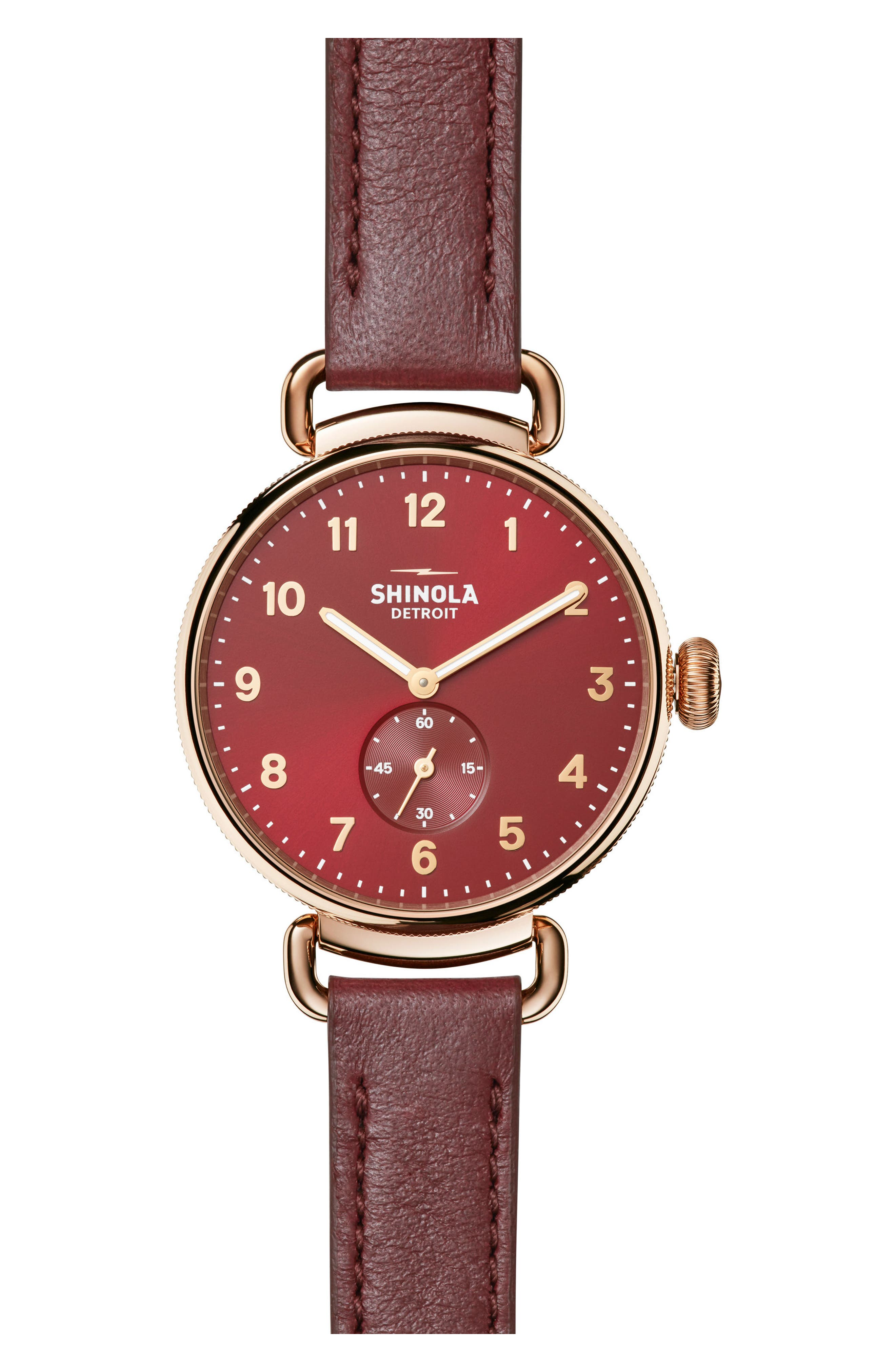 The Canfield Alligator Strap Watch, 38mm,                         Main,                         color, Red/ Rose Gold