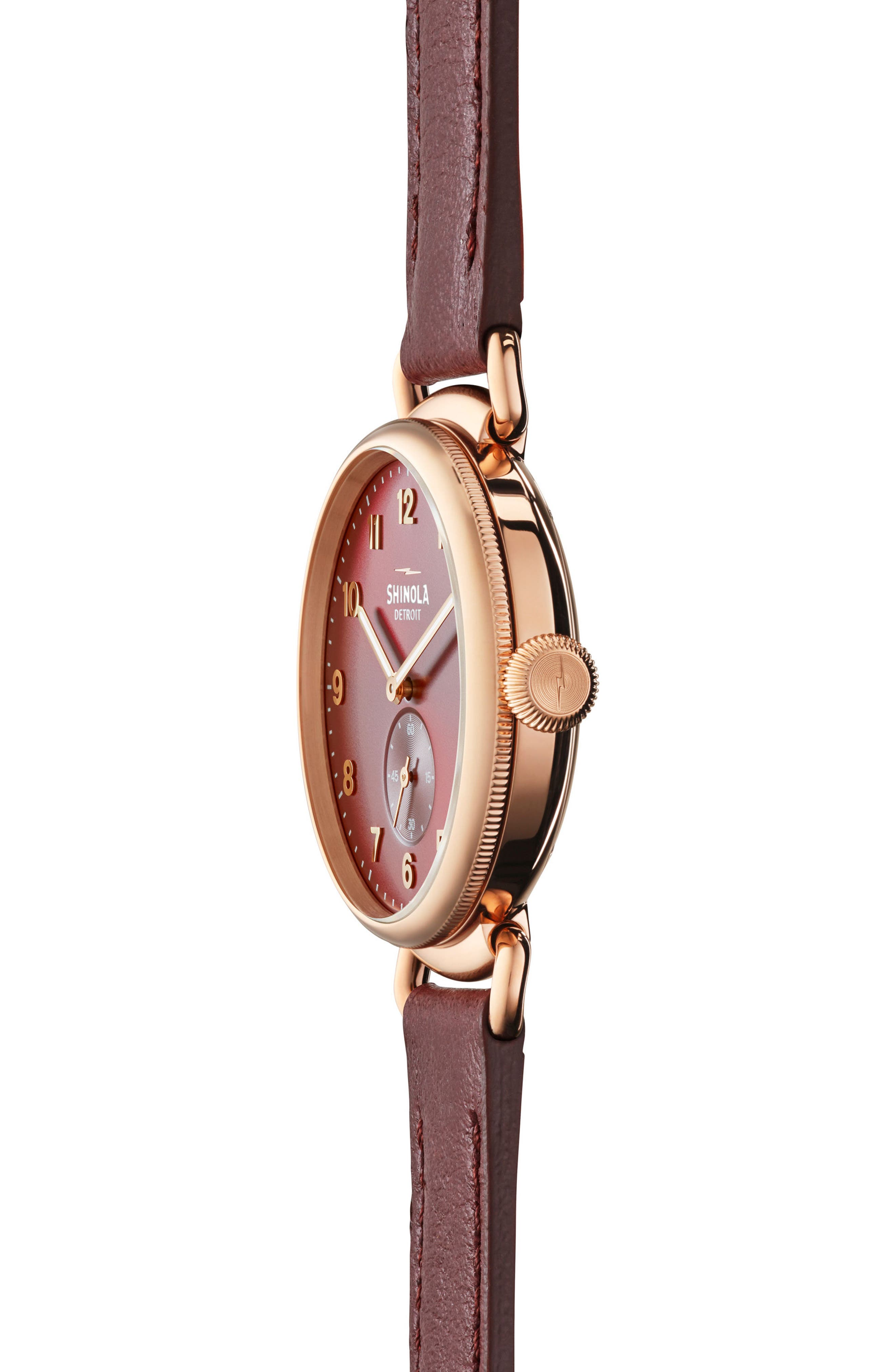 The Canfield Alligator Strap Watch, 38mm,                             Alternate thumbnail 3, color,                             Red/ Rose Gold