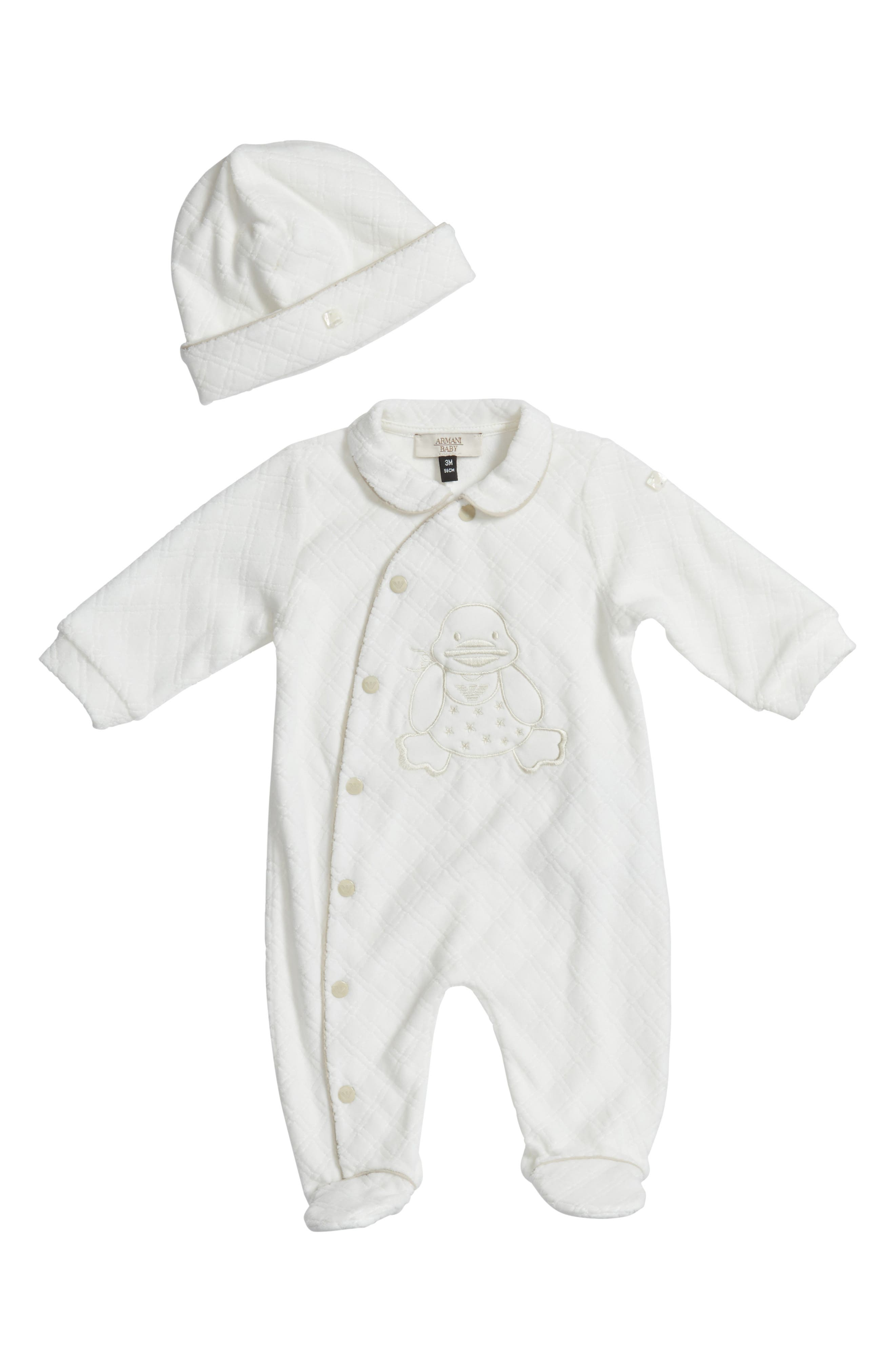 Main Image - Armani Junior Velour Footie & Beanie Set (Baby)