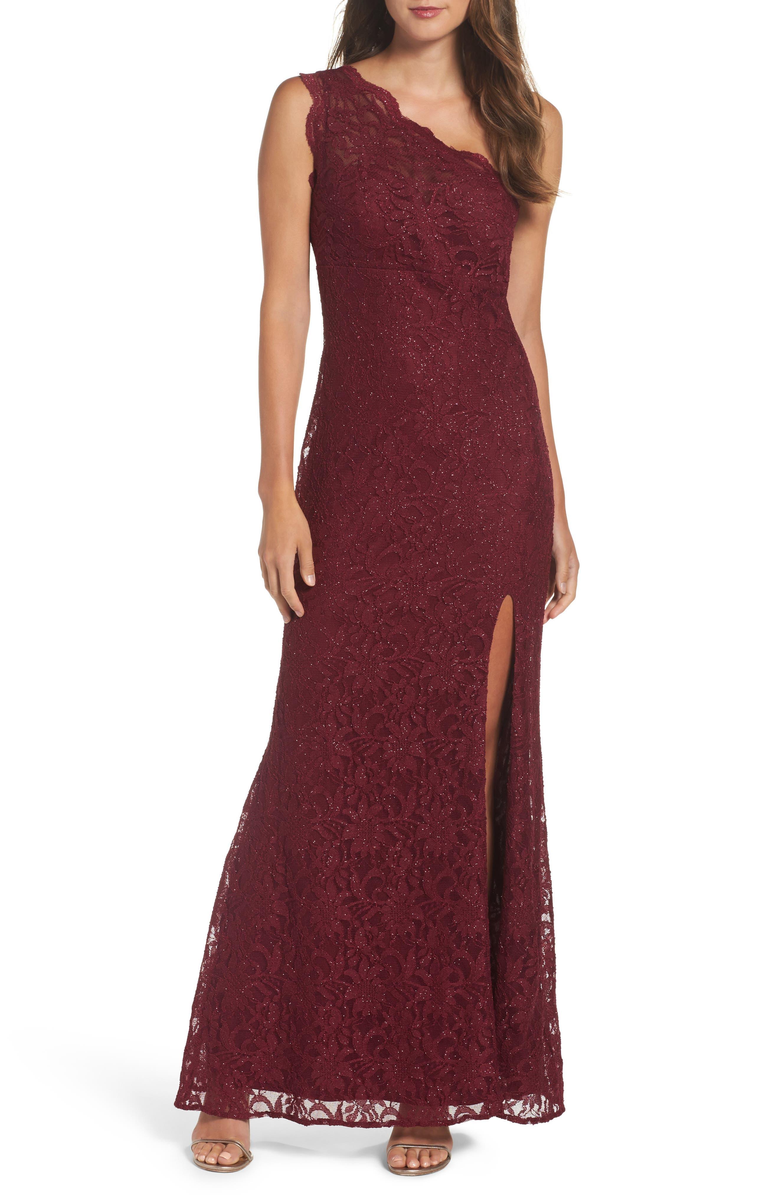 One-Shoulder Lace Gown,                         Main,                         color, Merlot