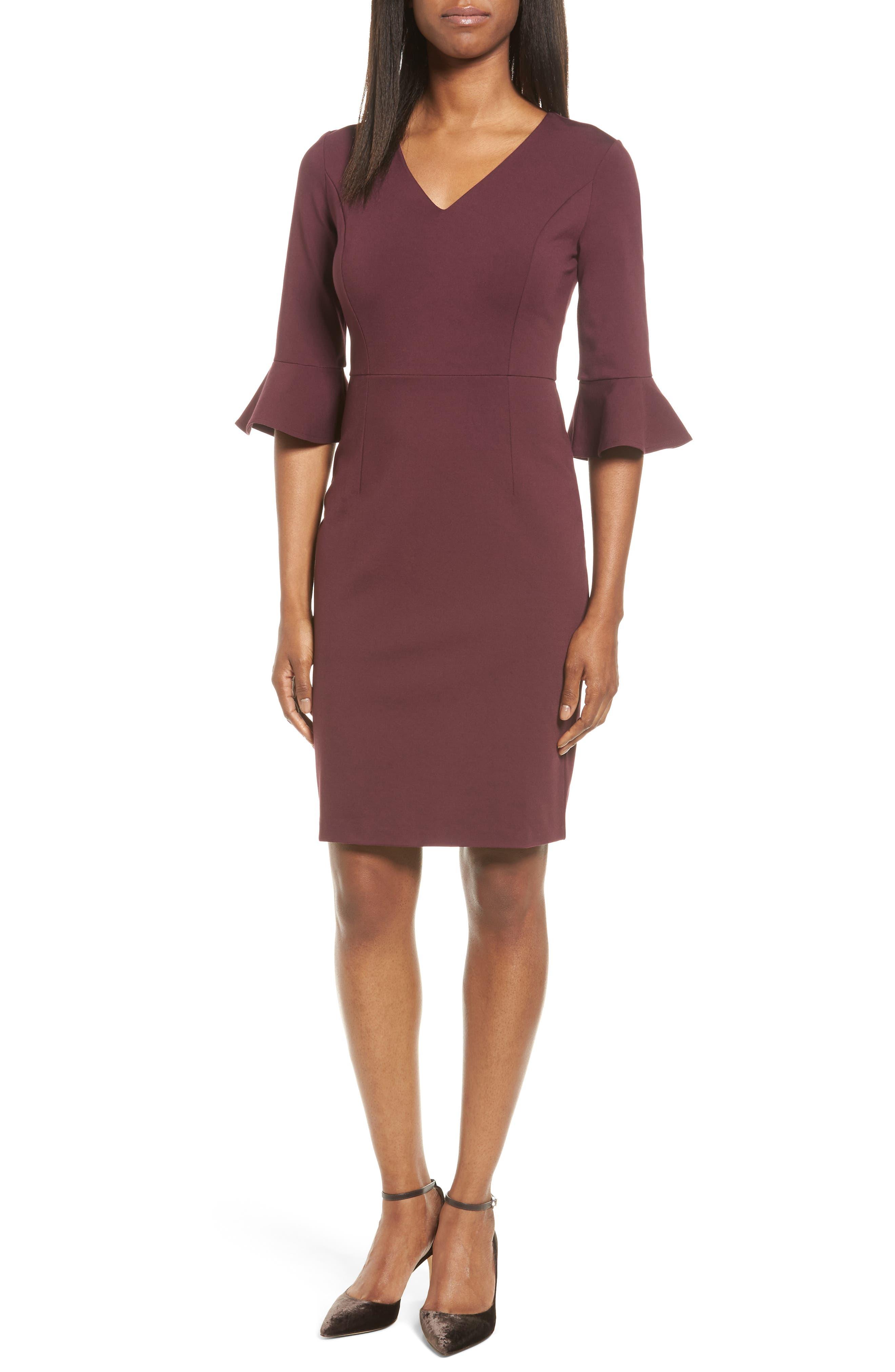 Main Image - Halogen® Ruffle Sleeve Ponte Sheath Dress (Regular & Petite)