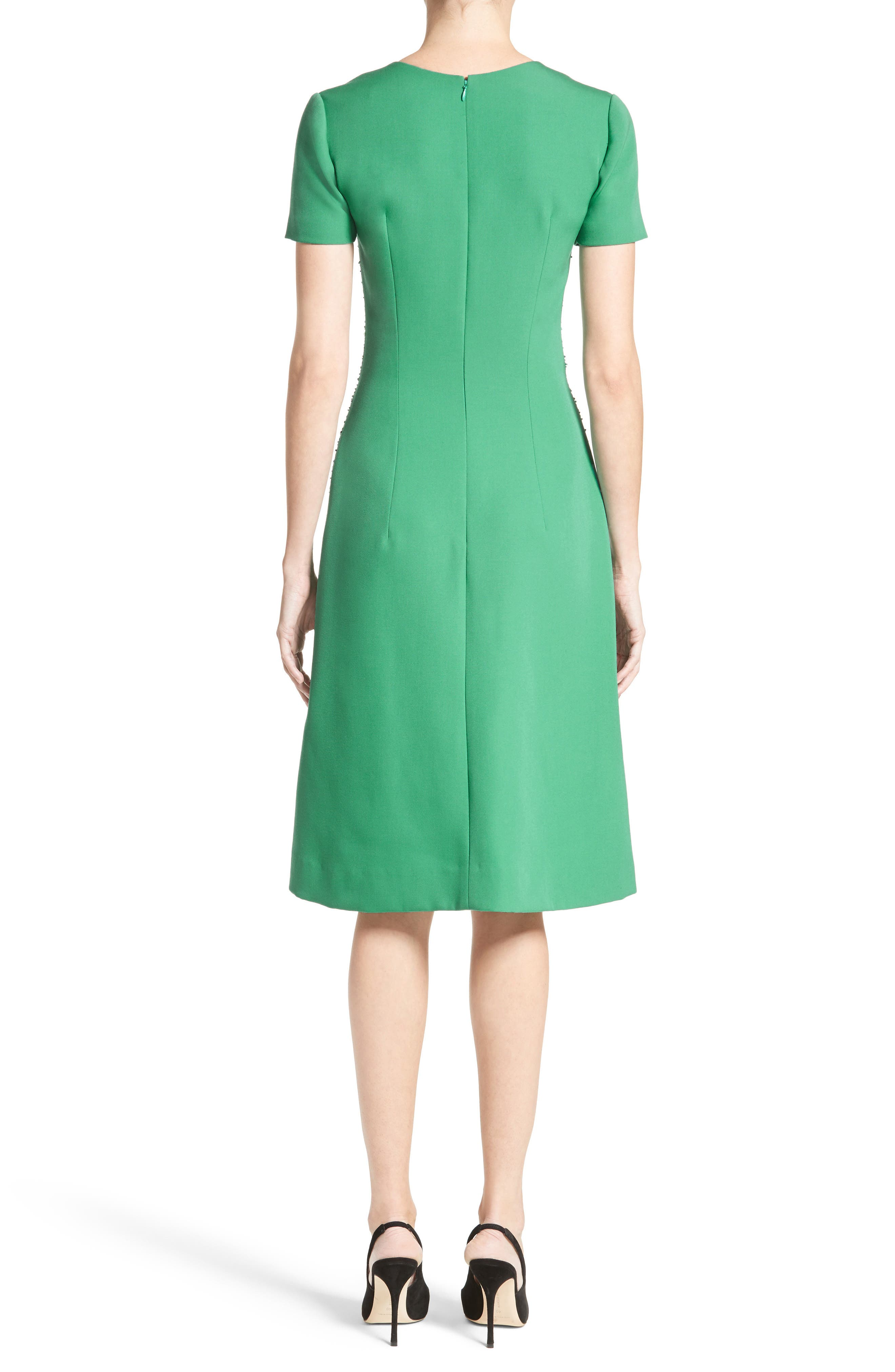 Beaded Stretch Wool Dress,                             Alternate thumbnail 2, color,                             Green