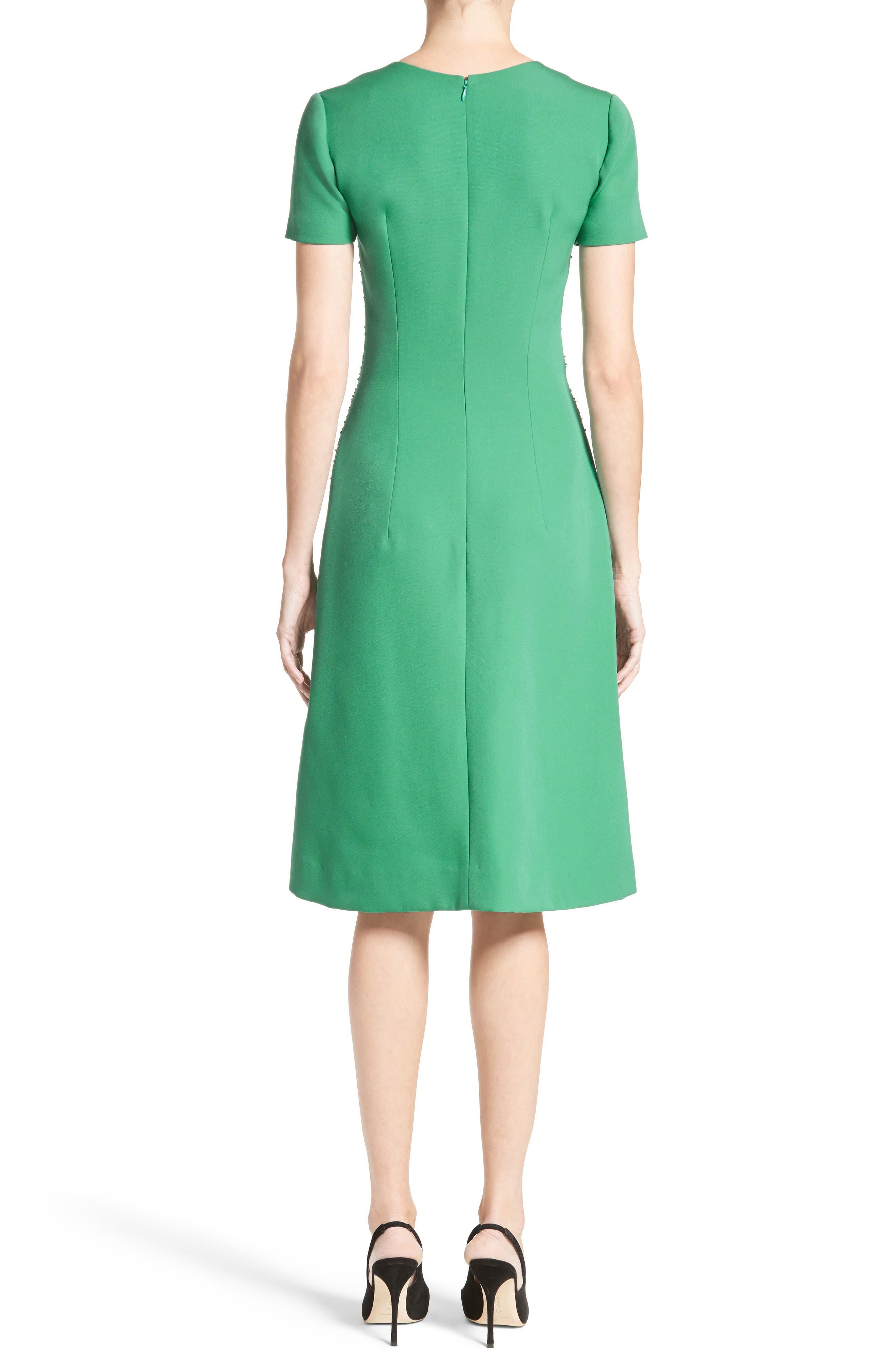 Alternate Image 2  - Carolina Herrera Beaded Stretch Wool Dress