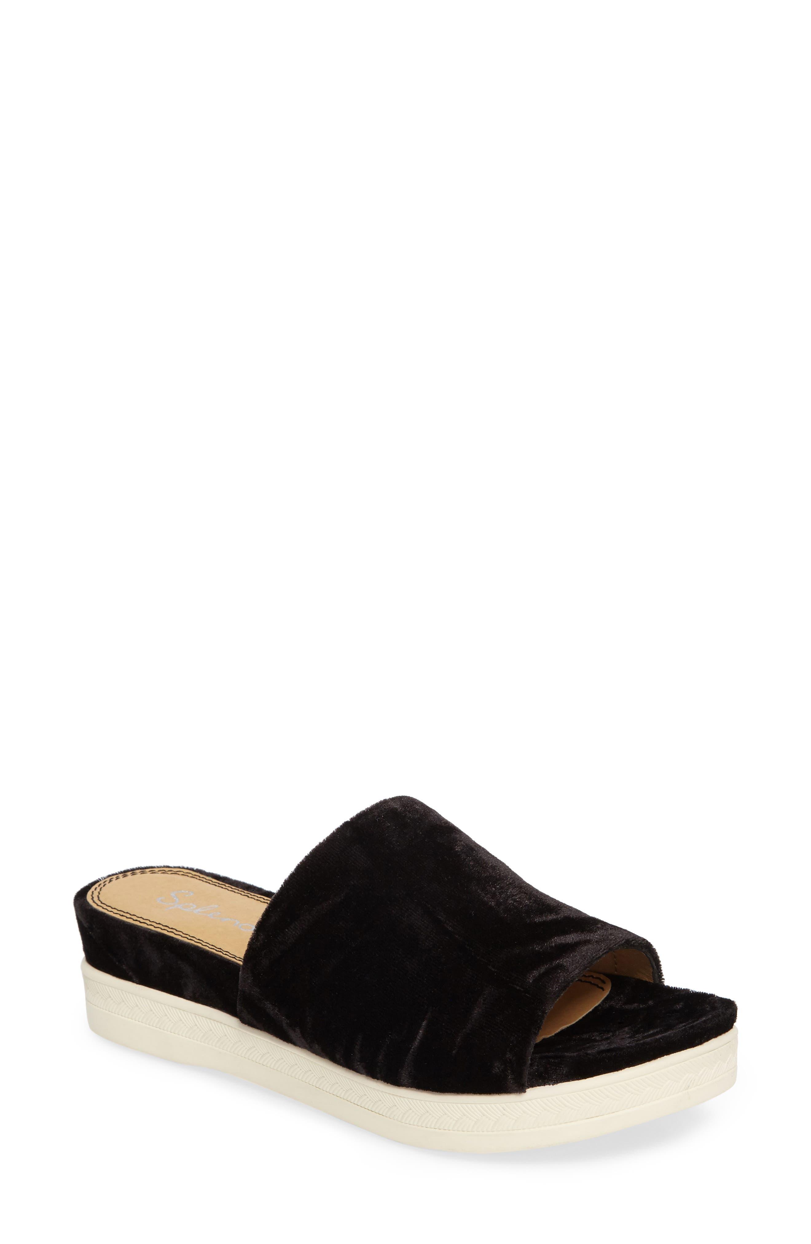 Darla Slide Sandal,                         Main,                         color, Black Velvet Fabric