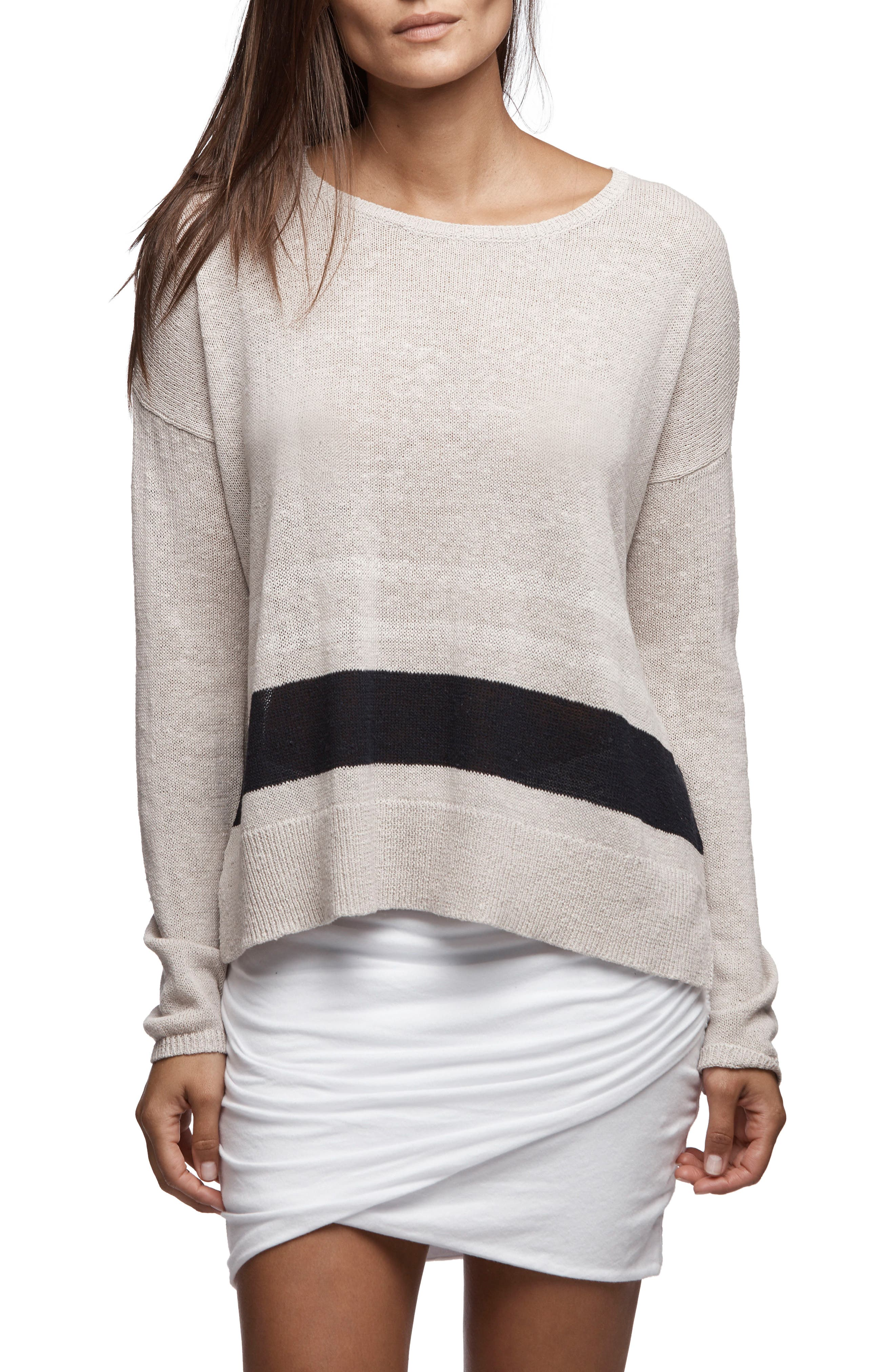 Alternate Image 1 Selected - James Perse Stripe Oversize Silk Blend Sweater
