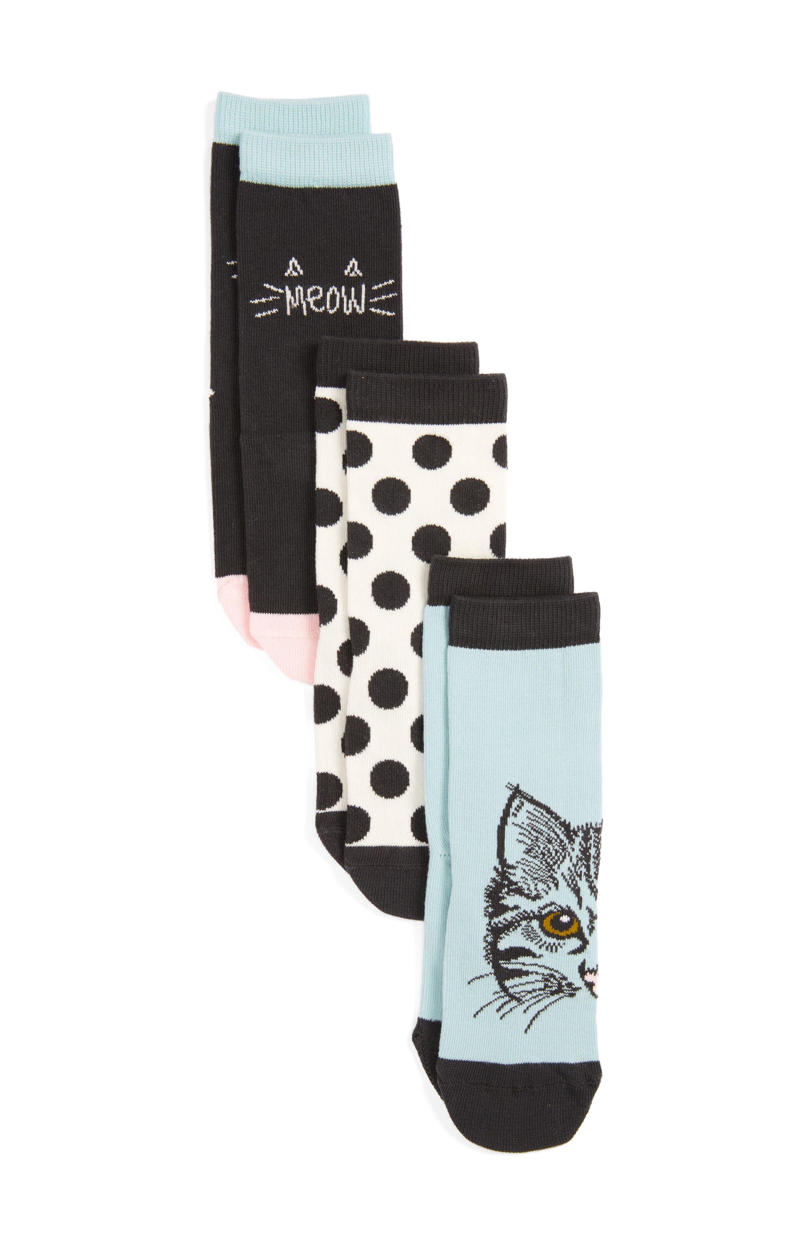 Main Image - Tucker + Tate Kitty 3-Pack Crew Socks (Toddler, Little Kid & Big Kid)