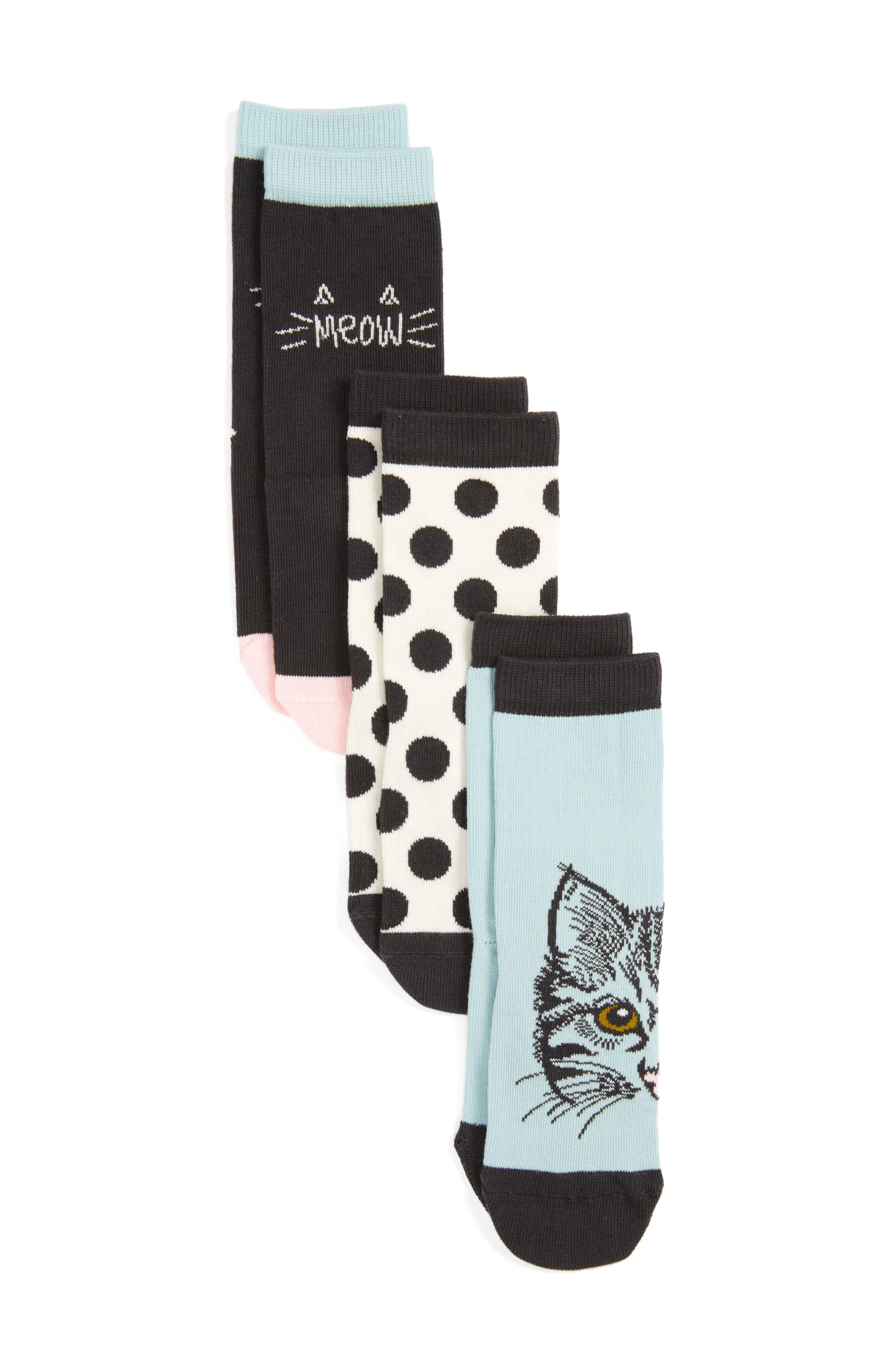 Tucker + Tate Kitty 3-Pack Crew Socks (Toddler, Little Kid & Big Kid)